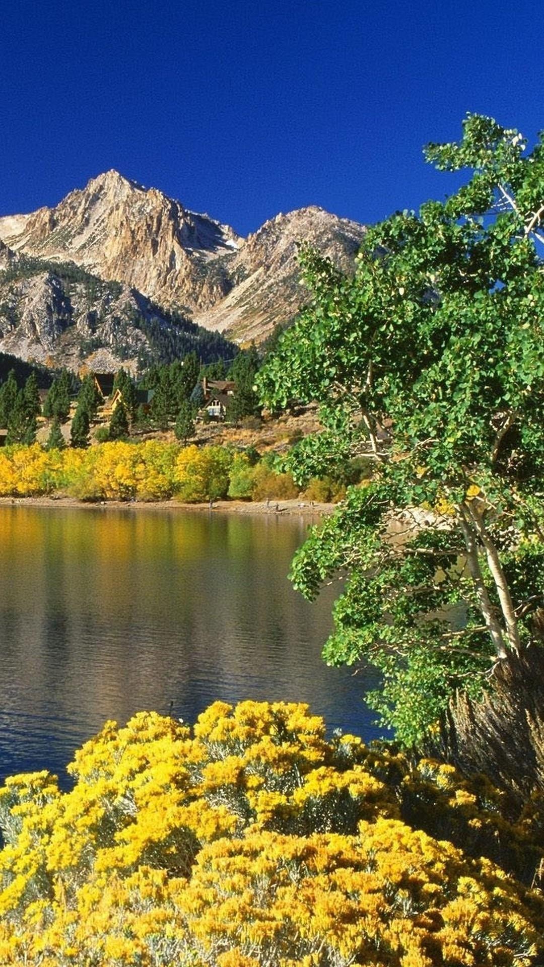 Mountain lake in spring Wallpaper