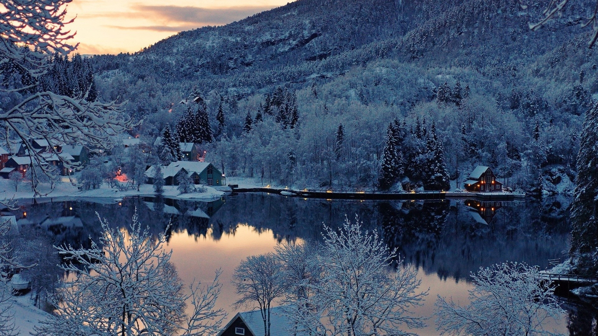 Snow Forest Houses & Lake