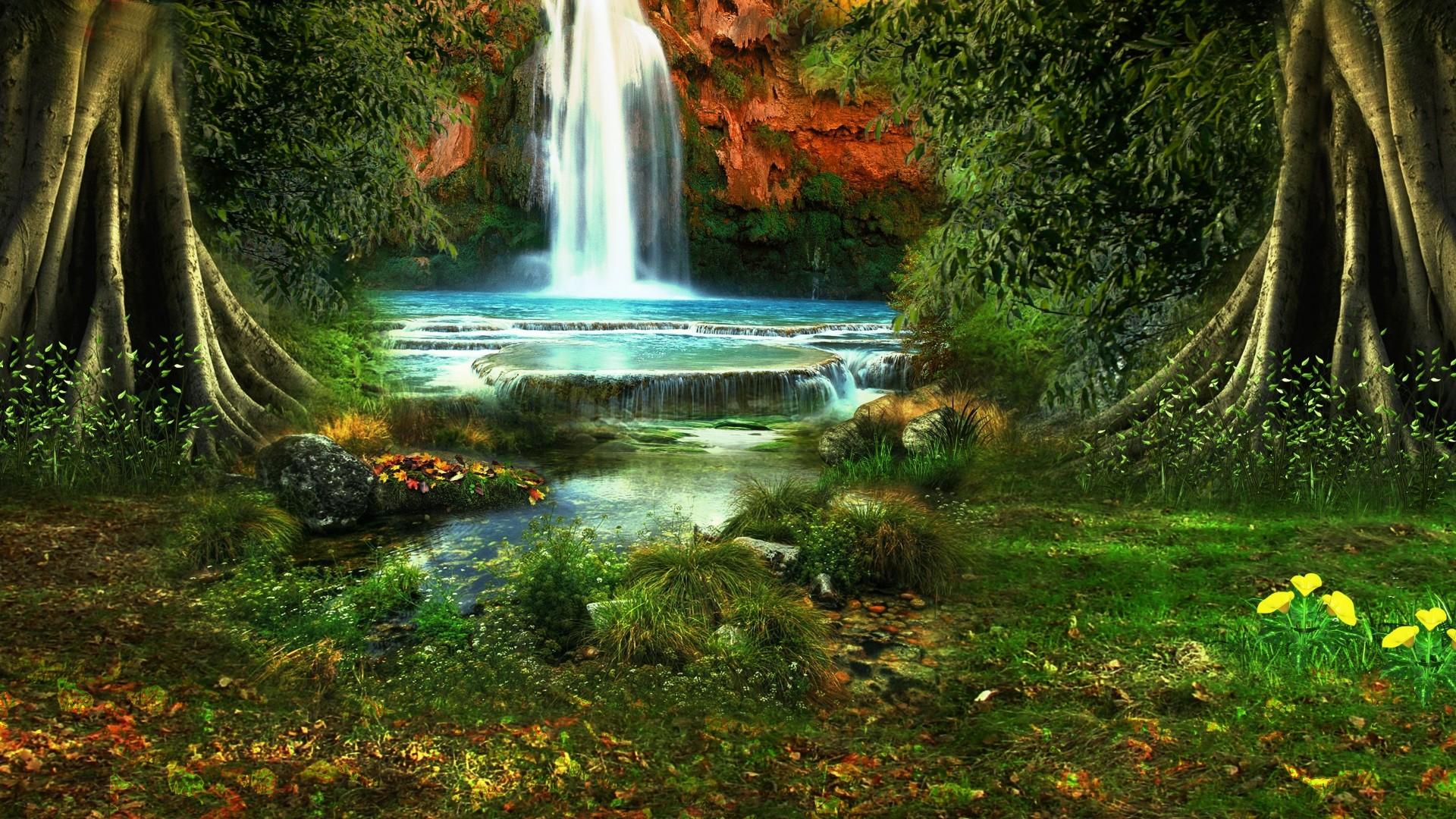Download Wallpaper waterfall, trees, vegetation, nature, landscape  Full HD 1080p HD Background