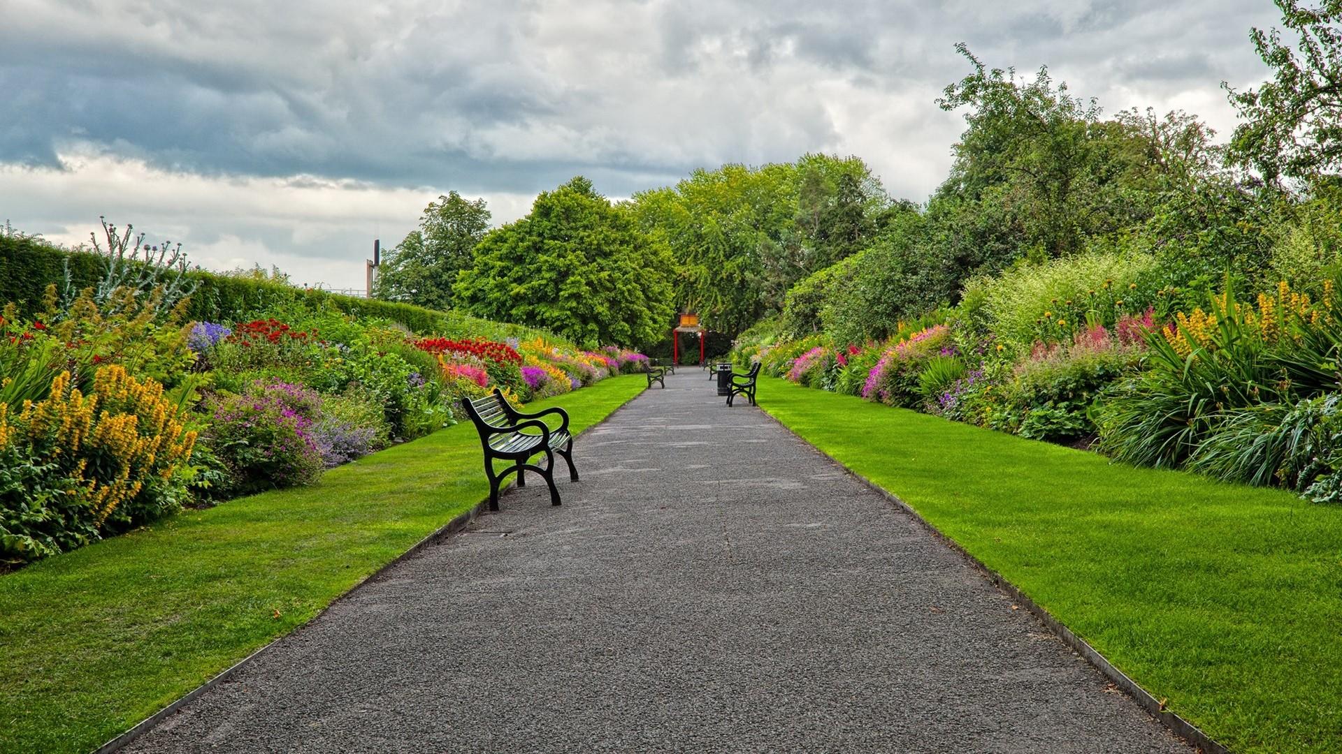 Preview wallpaper garden, park, road, benches, landscape 1920×1080