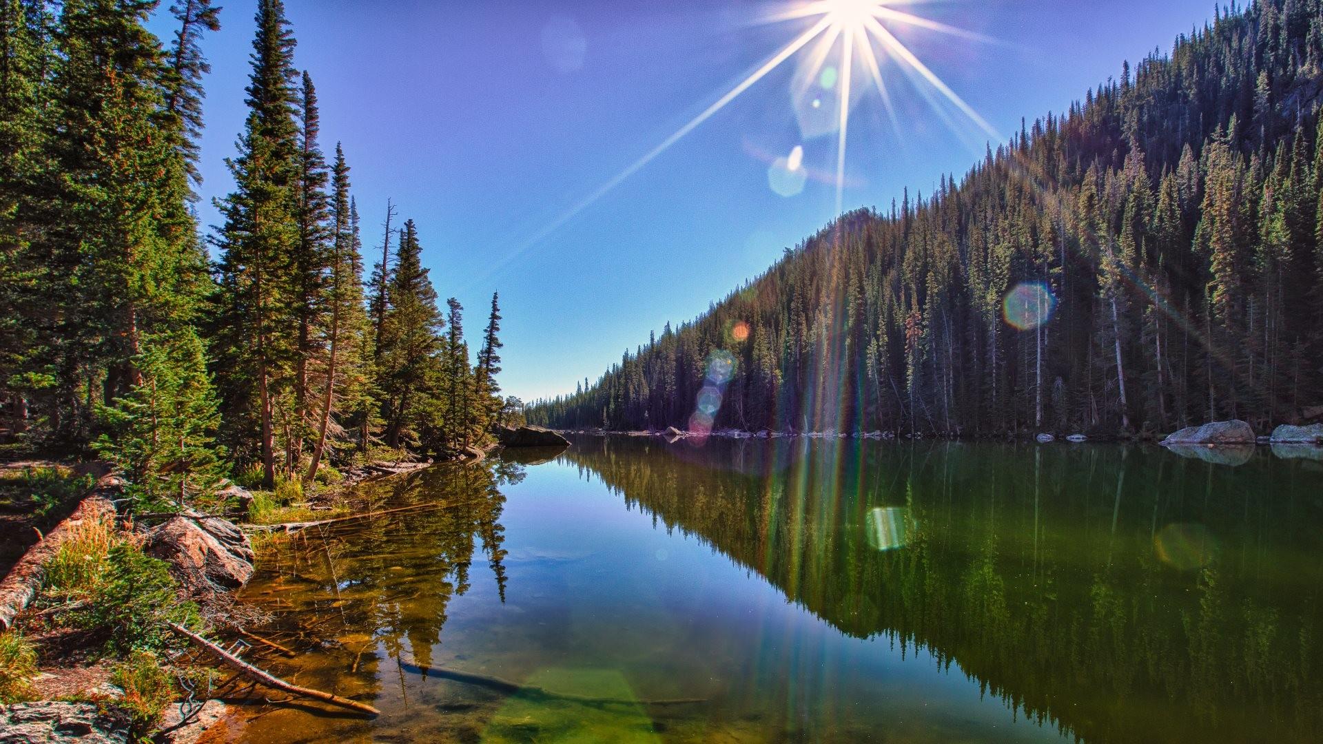 4K HD Wallpaper: Landscape – The Sun, reflected in Dream Lake in Rocky  Mountain National Park