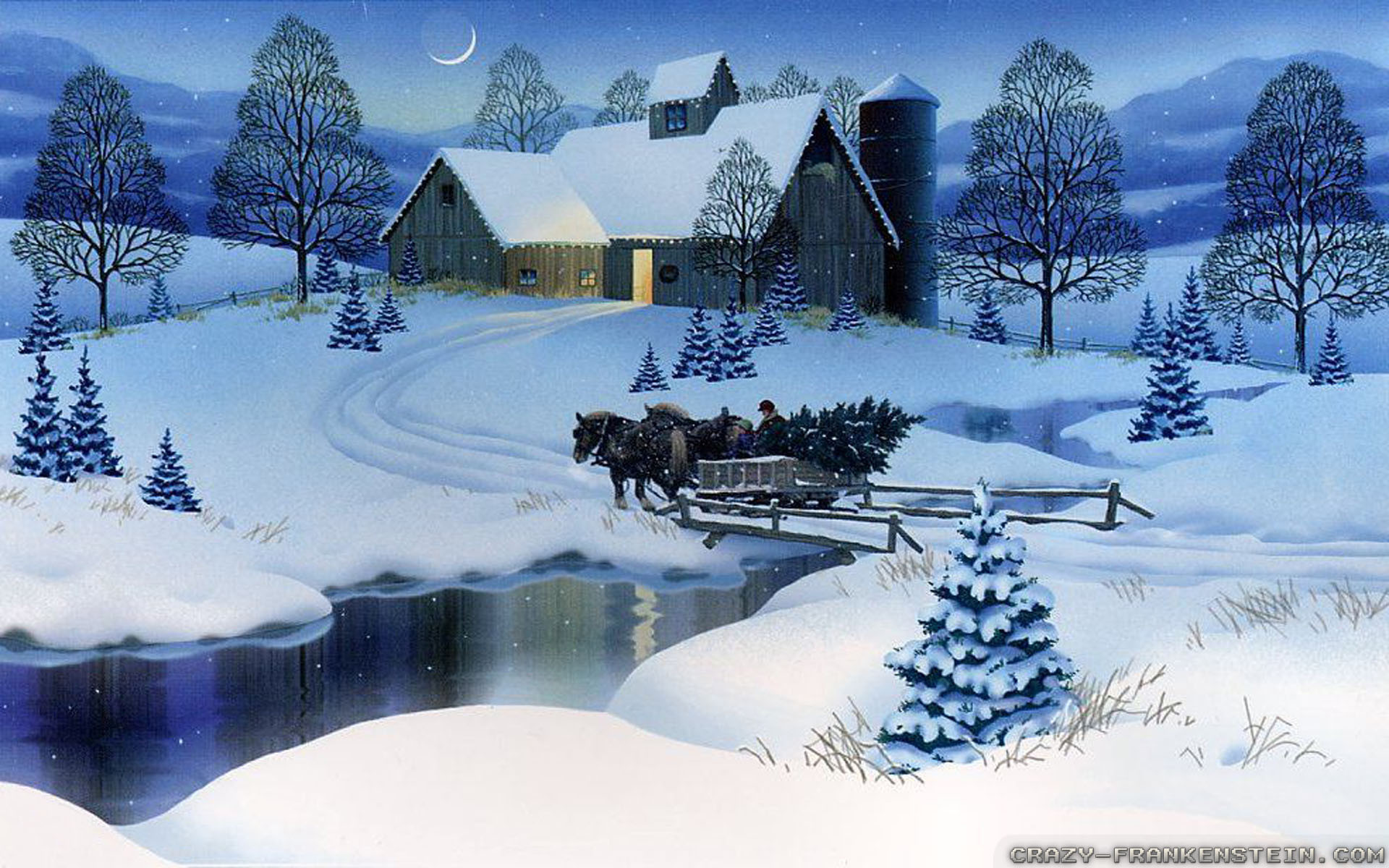 Wallpaper: Village scene winter Christmas wallpapers. Resolution: 1024×768  | 1280×1024 | 1600×1200. Widescreen Res: 1440×900 | 1680×1050 | 1920×1200