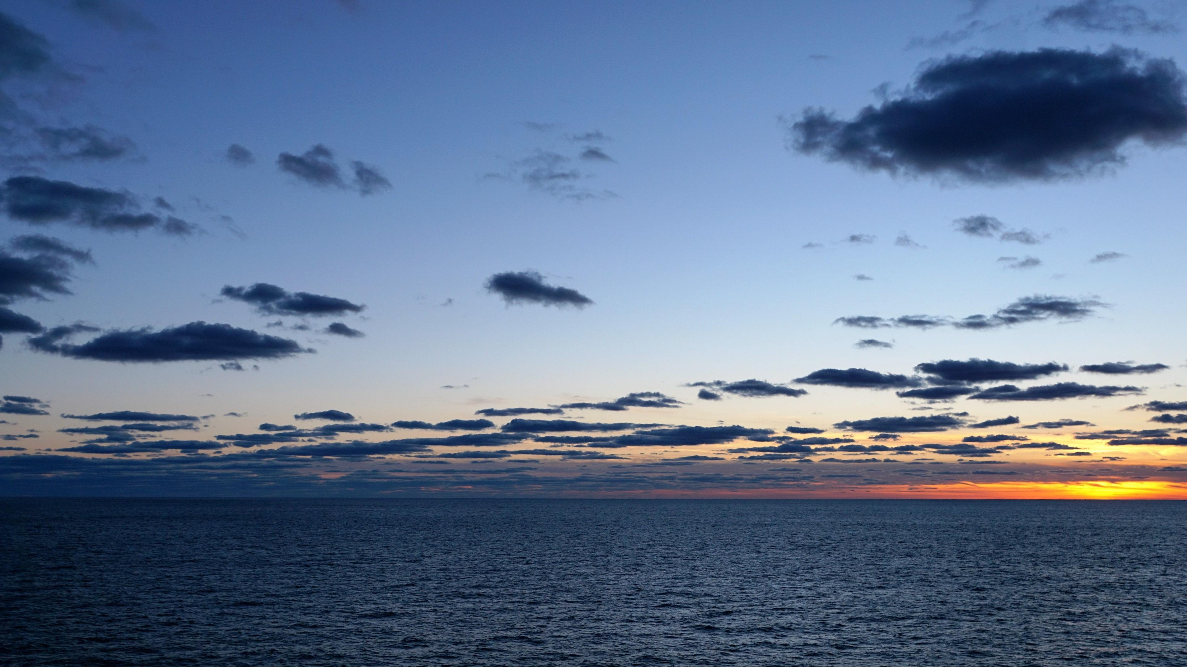 Preview wallpaper ocean, atlantic, horizon, sunset 3840×2160