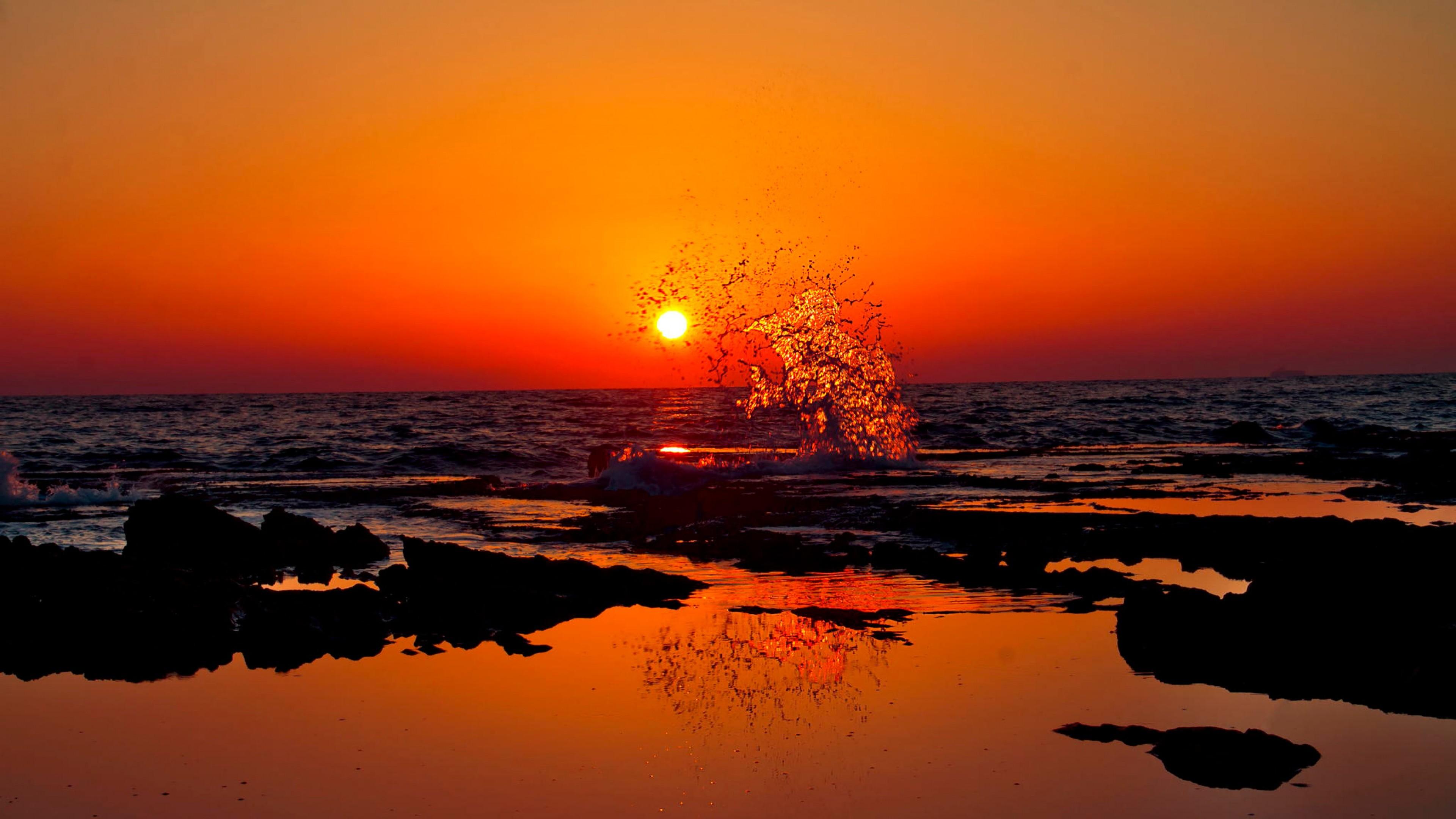 Wallpaper india, sunset, splash, beach, ocean