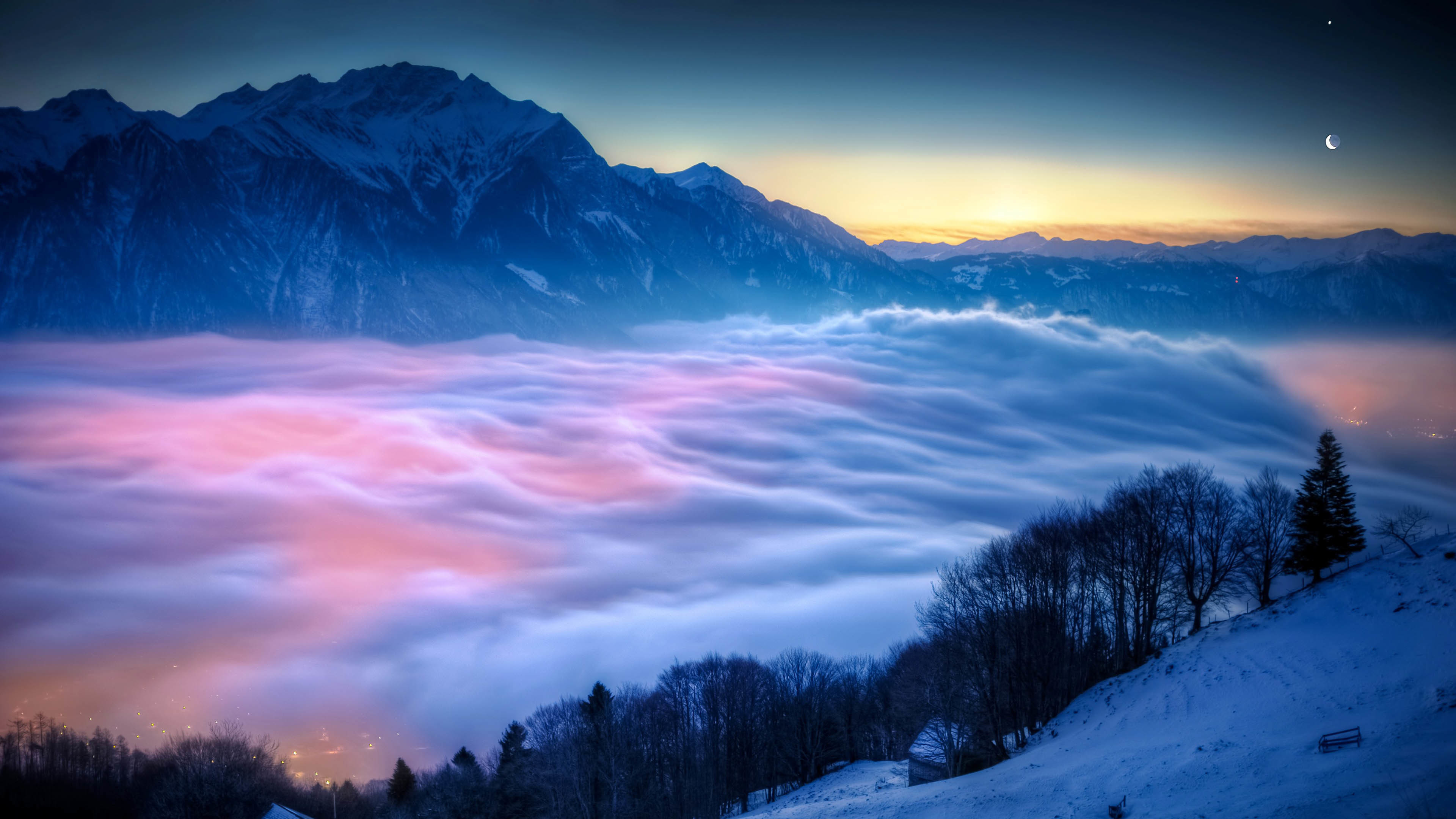City under the Fog & Mountains at Sunrise wallpaper