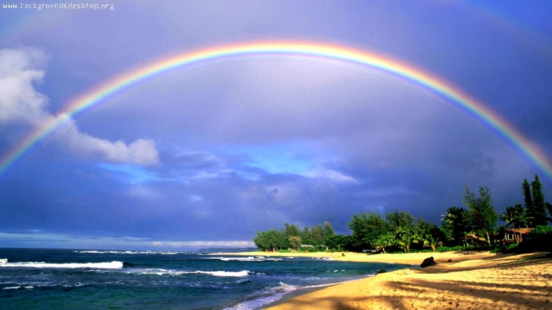 Hawaii-Beach-Rainbow-HD-Wallpaper-1920×1080-For-Desktop