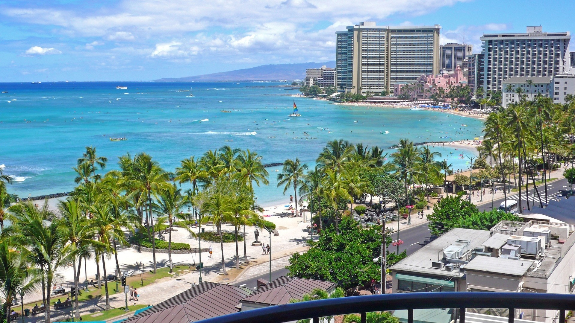 Wallpaper honolulu hawaii beach, united states, palm trees,  ocean, sea,