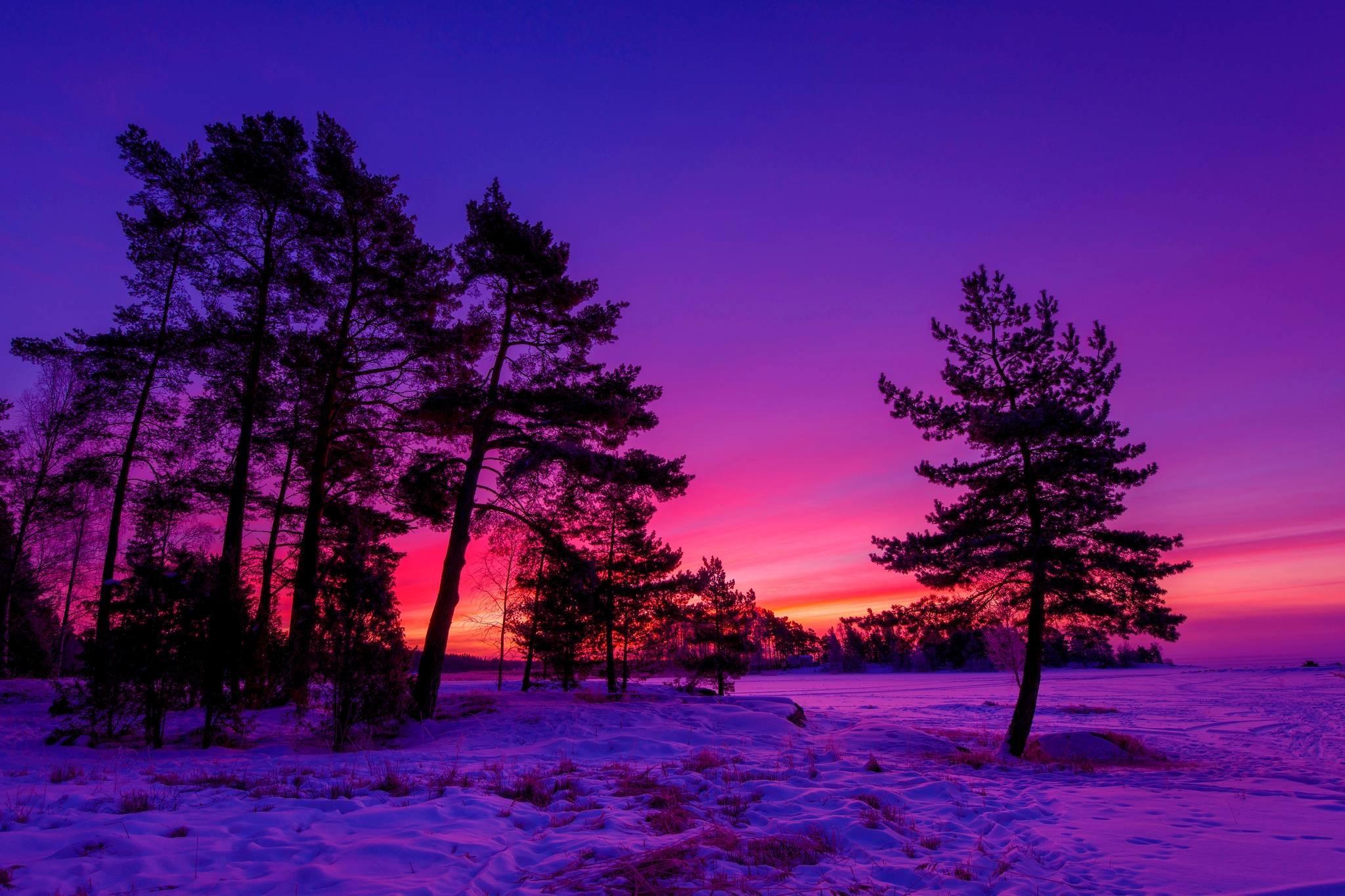 HD Winter Sunset Wallpaper | Download Free – 68105