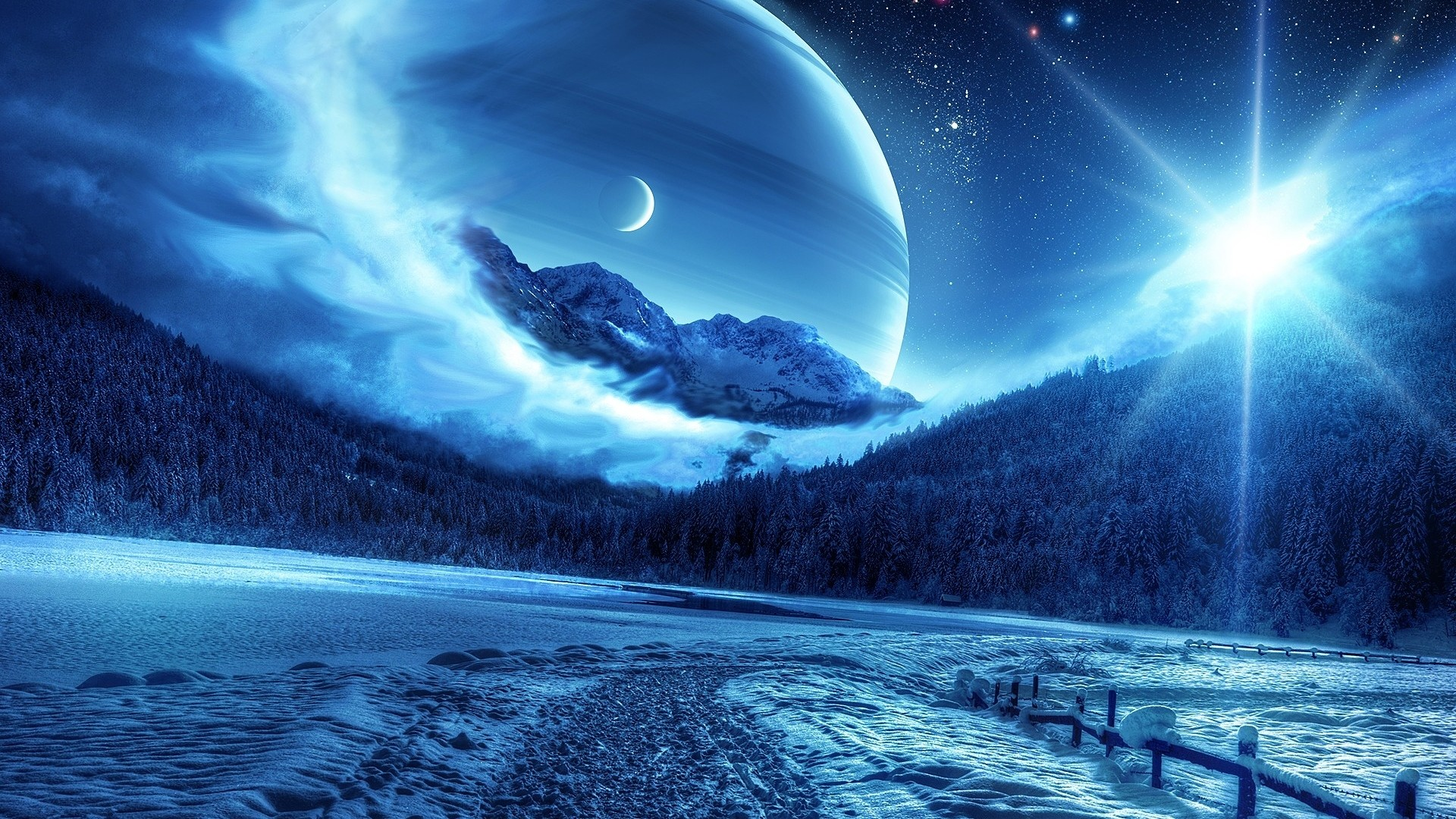Preview wallpaper winter, night, mountains, road, planet, fantastic  landscape 1920×1080
