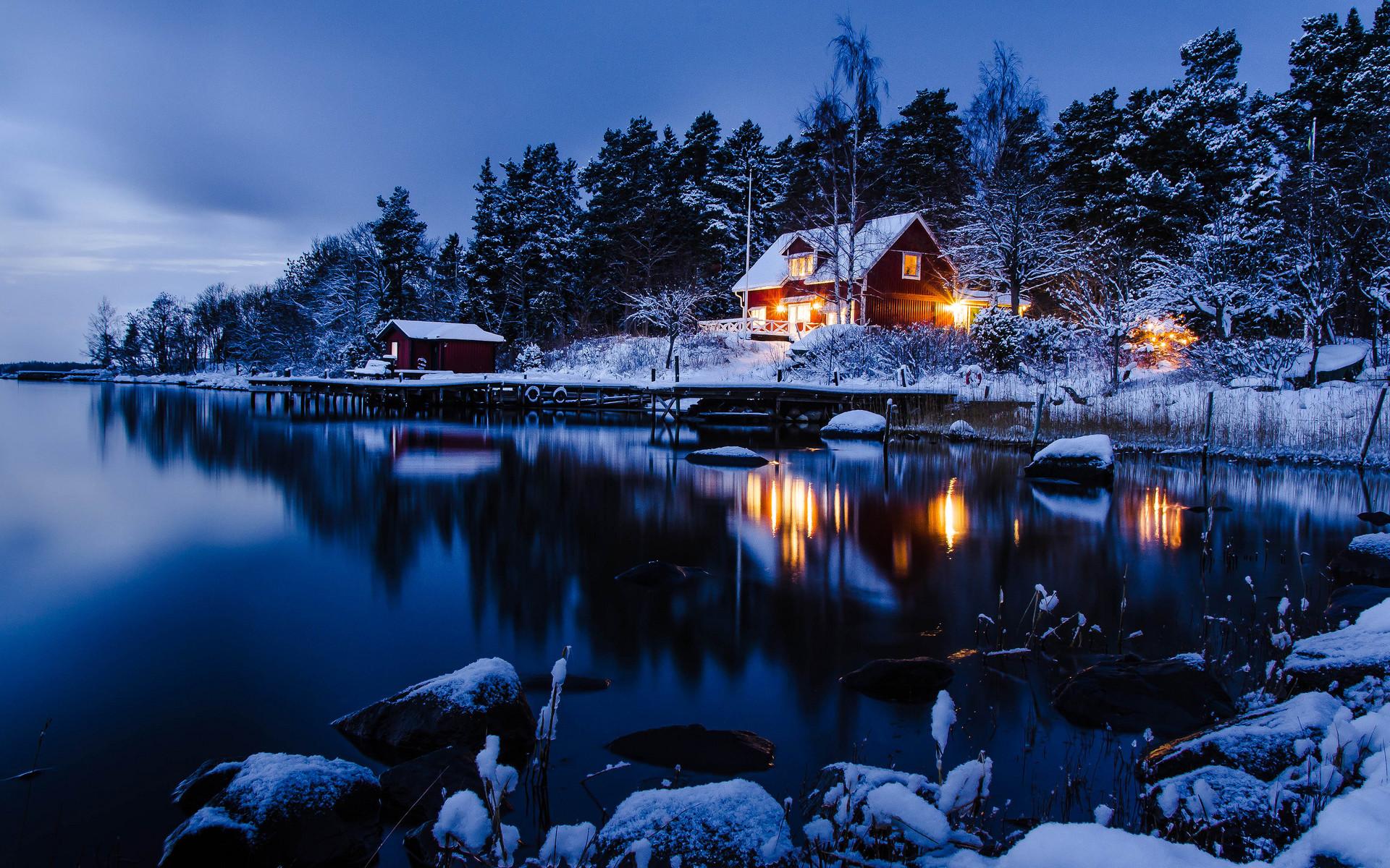 Beautiful Winter Night Wallpaper | Freetopwallpaper.com