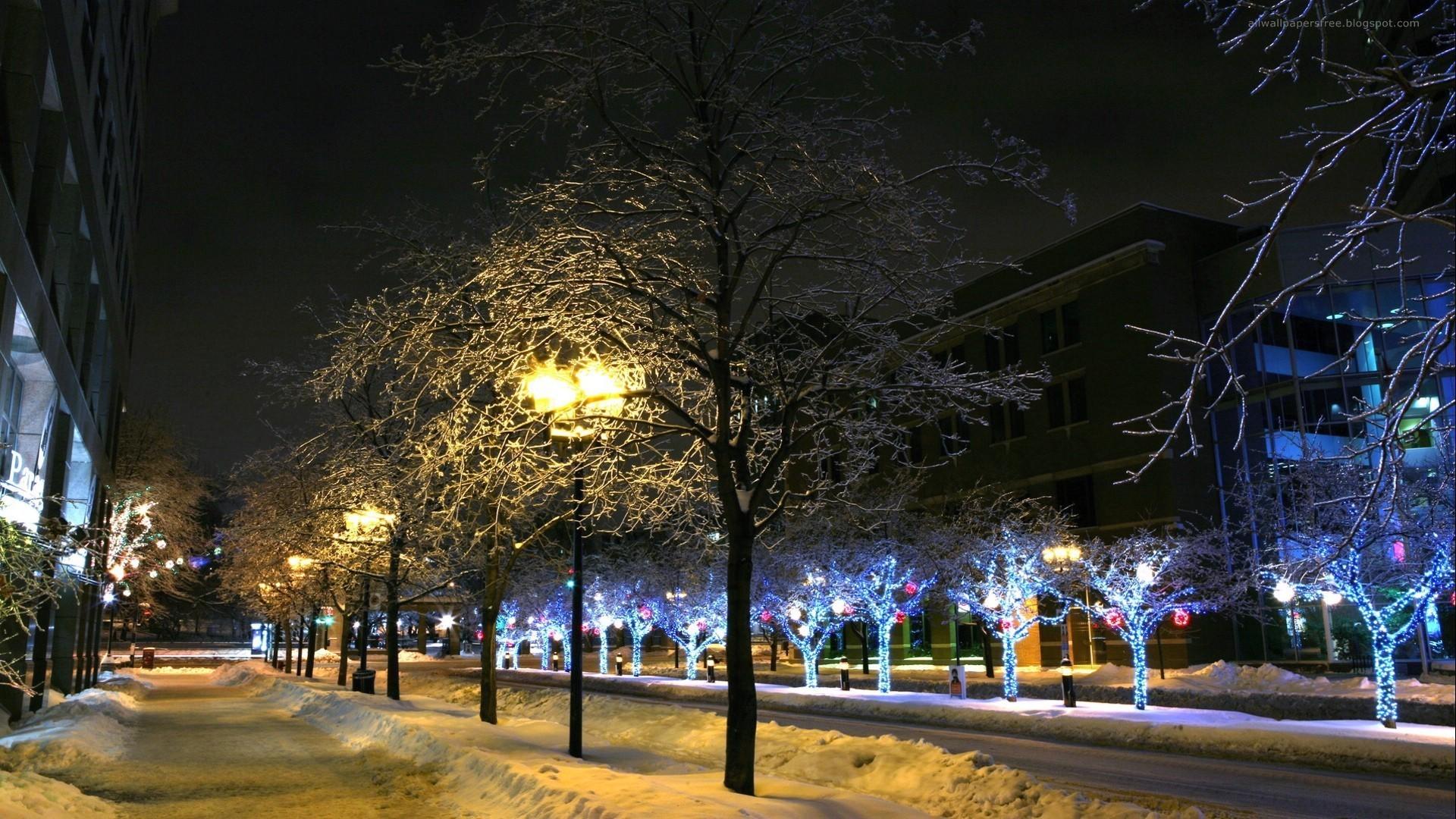Winter – Night City Late Light Street Christmas Xmas Lights Trees Winter  Desktop Animated Wallpaper Free
