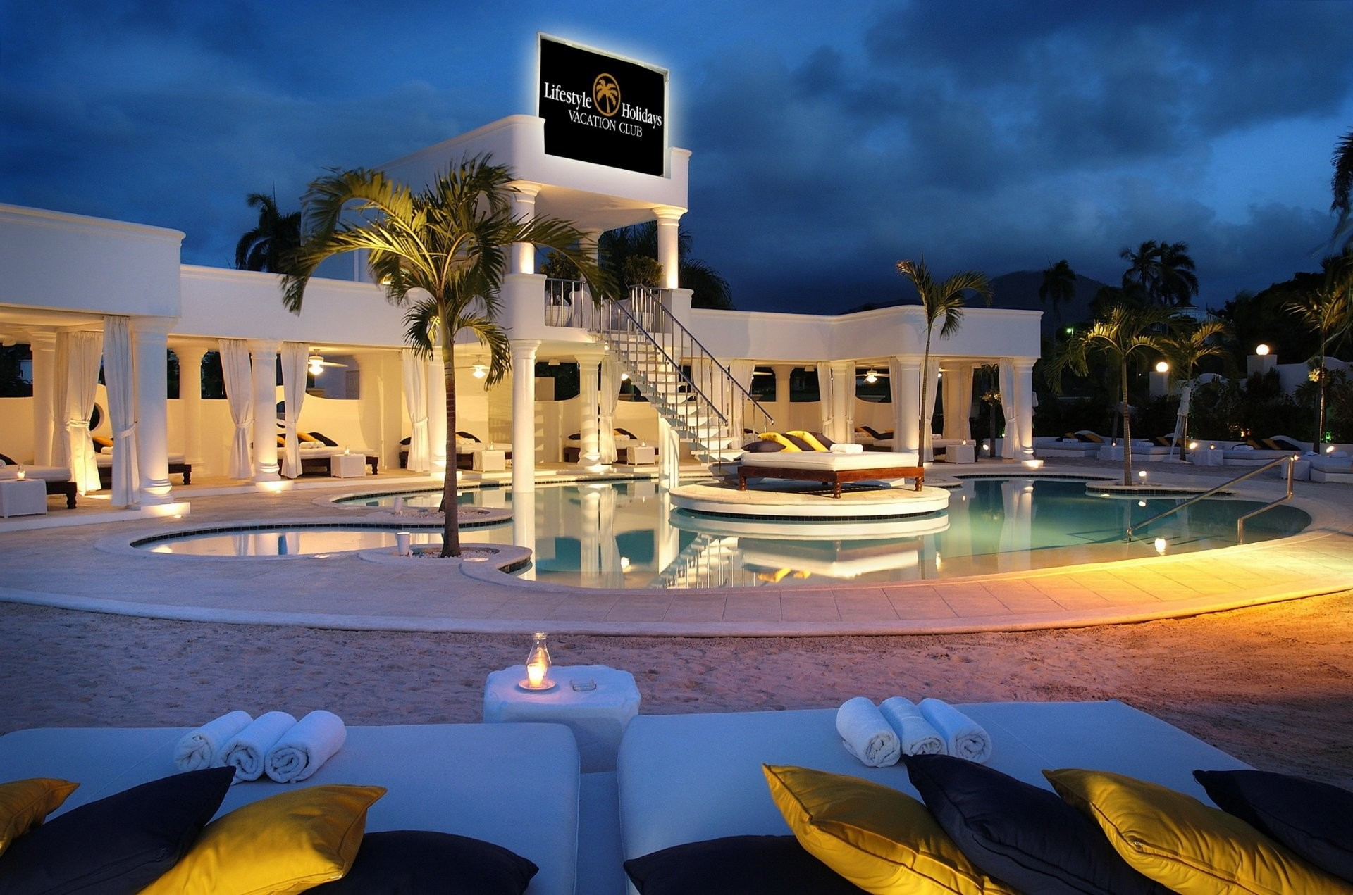 resort club dominican republic building column pools swimming pool beds  pillow architecture night palm .
