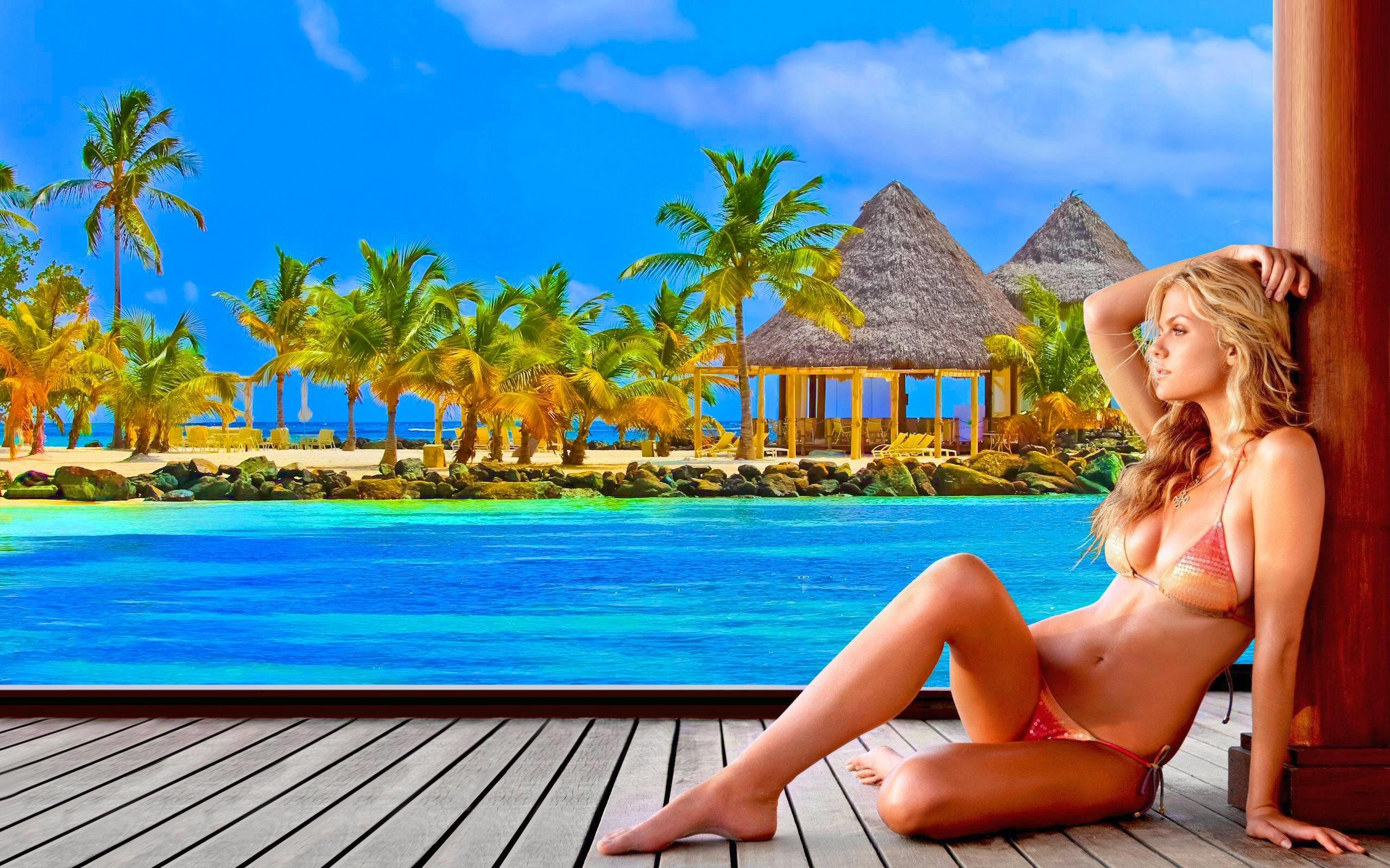 Women – Brooklyn Decker Blonde Tropical Turquoise Summer Palm Tree Sunny  Bikini Model Wallpaper