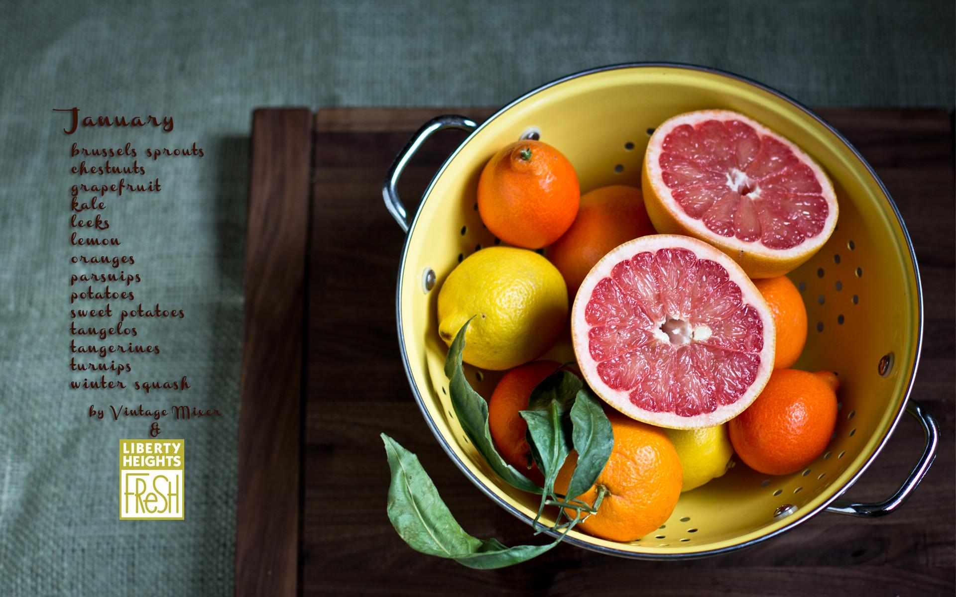 Seasonal Produce List and Wallpaper for January