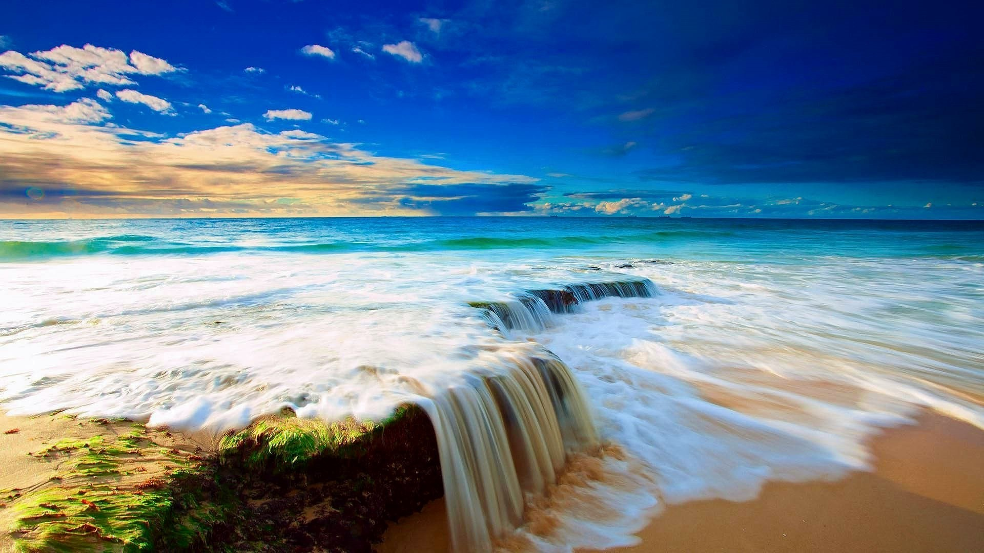 Wave Tag – Water Blue Wave Sky Courtain Sand Ocean Clouds Waterfall White  Beach Summer Beautiful