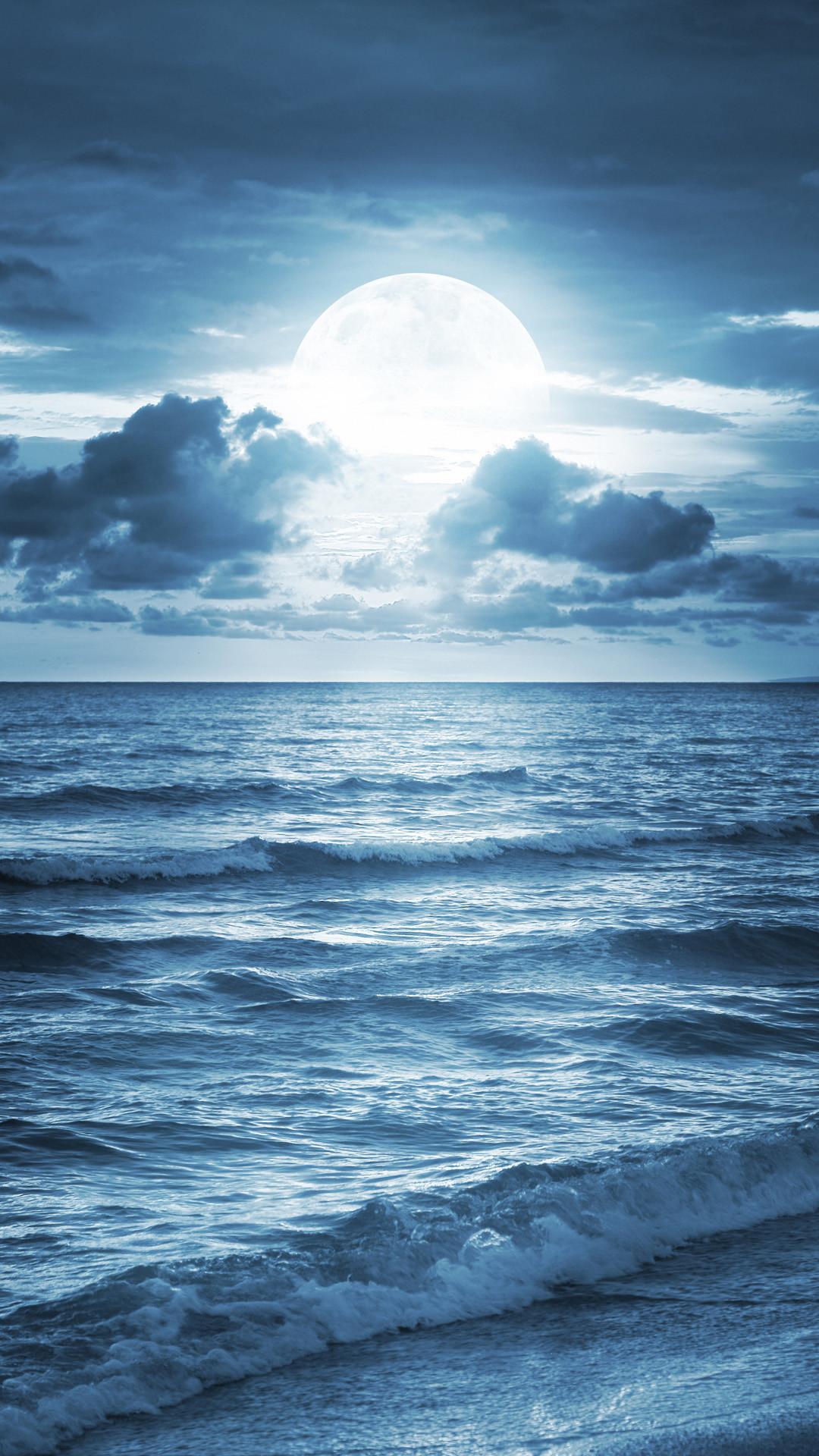 Blue Ocean Beach At Dusk iPhone 6 wallpaper