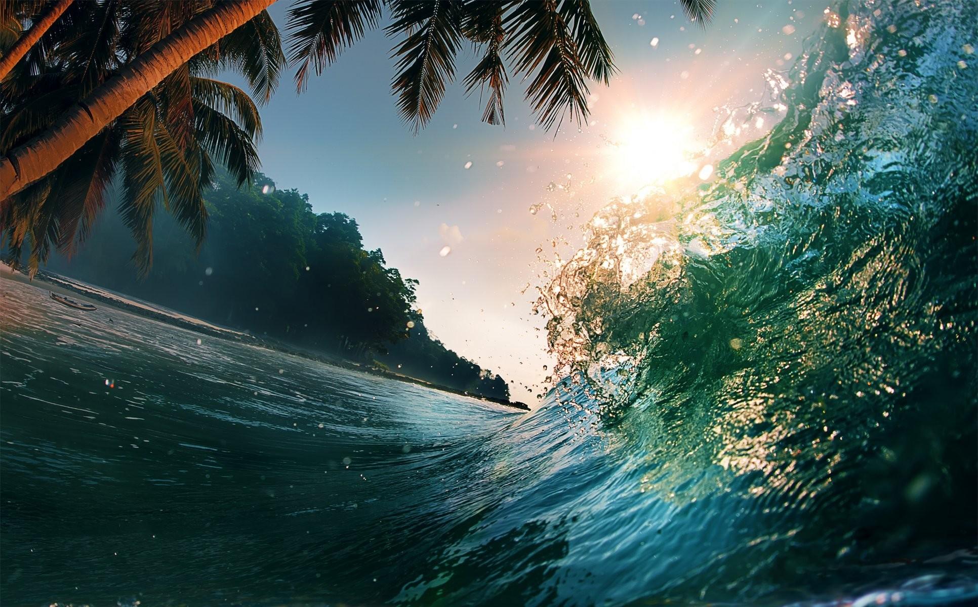 sea wave beautiful sunset scene water splash tropical paradise ocean sea  waves sunlight nature