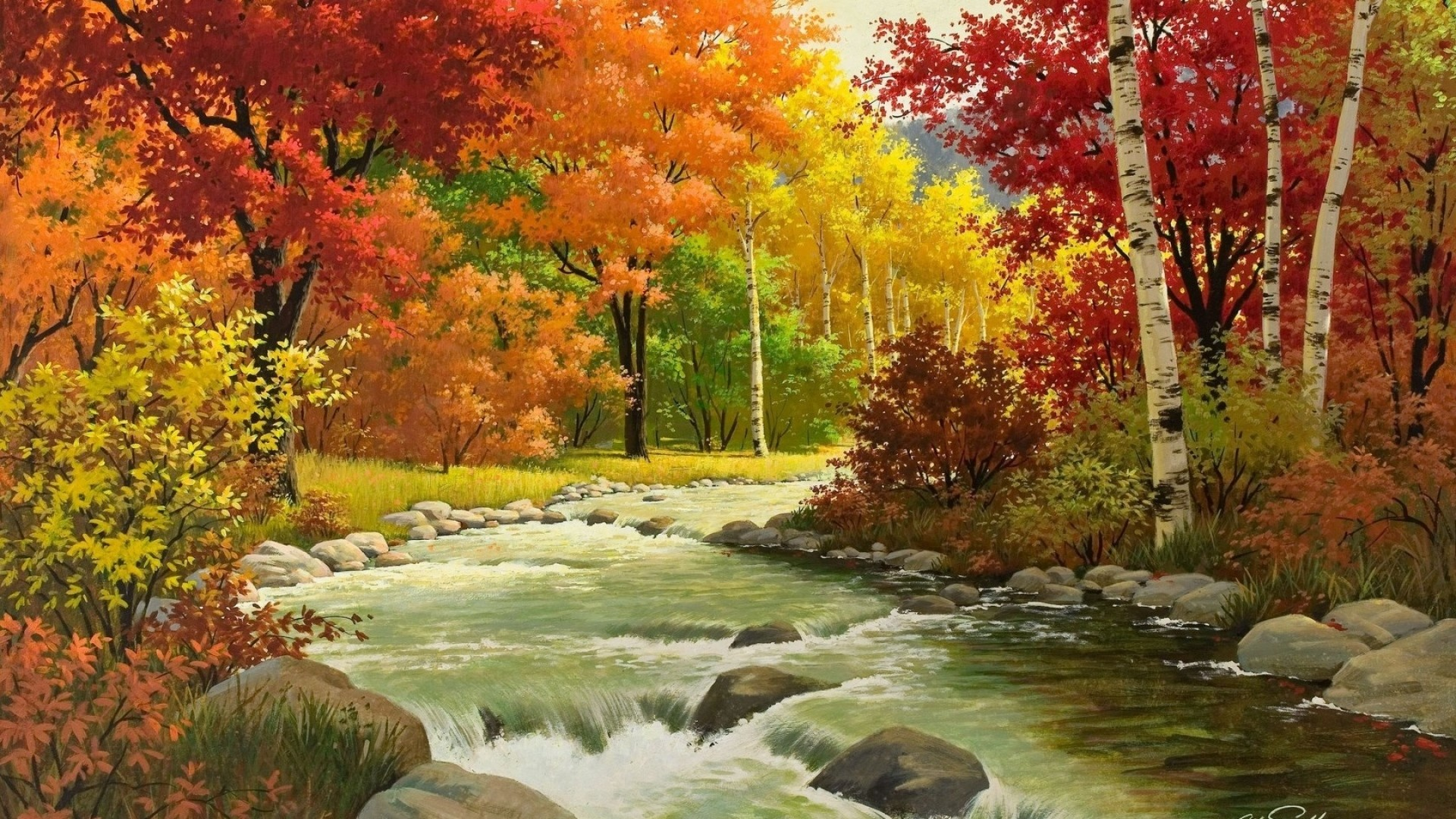 … Background Full HD 1080p. Wallpaper autumn, landscape,  painting, river, wood