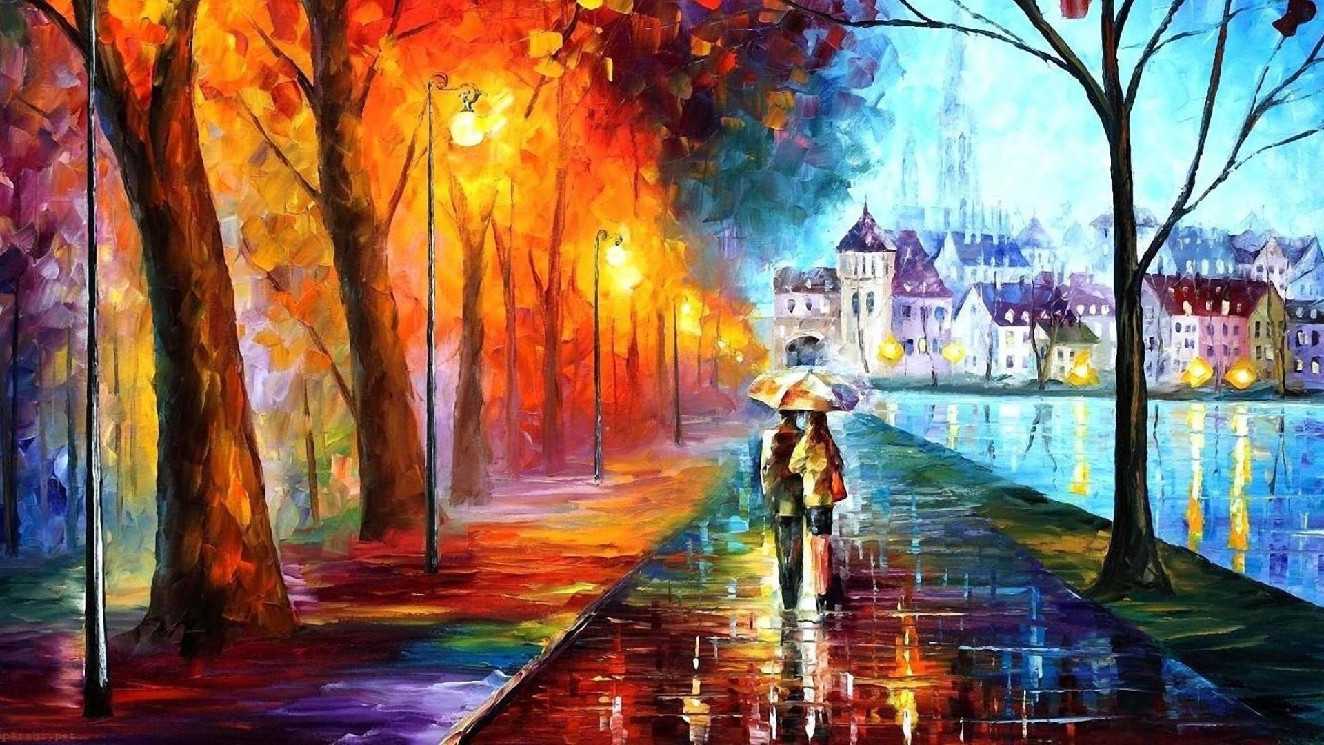 … Background Full HD 1080p. Wallpaper autumn, drawing, walking