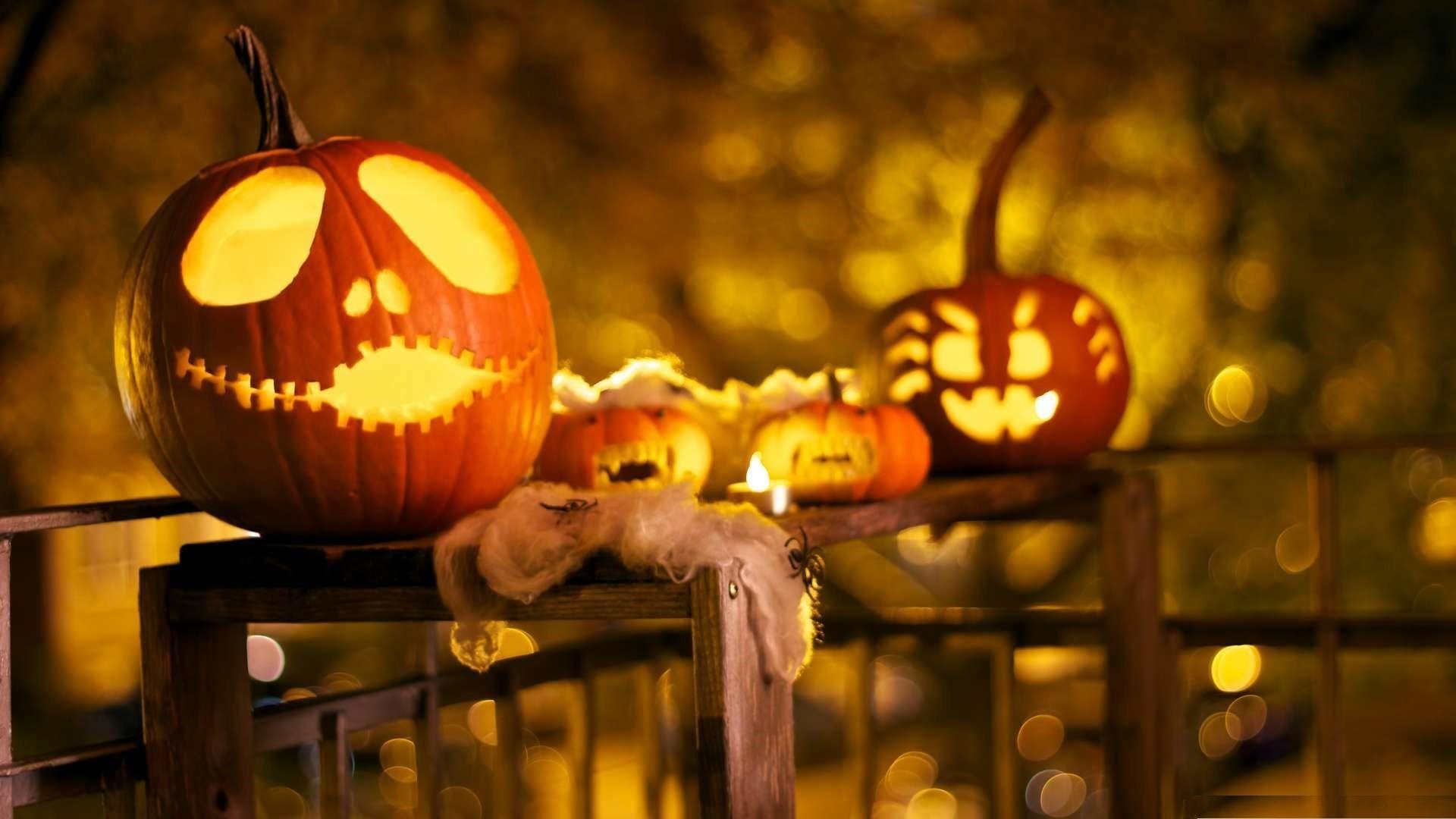 Halloween decorations wallpaper 1080p HD.