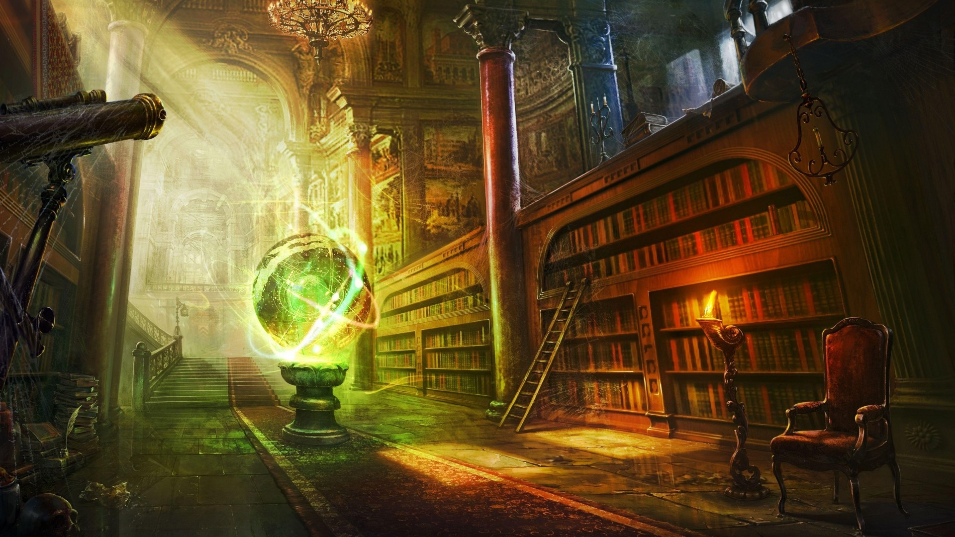 Preview wallpaper magic, ball, library, columns, castle 1920×1080