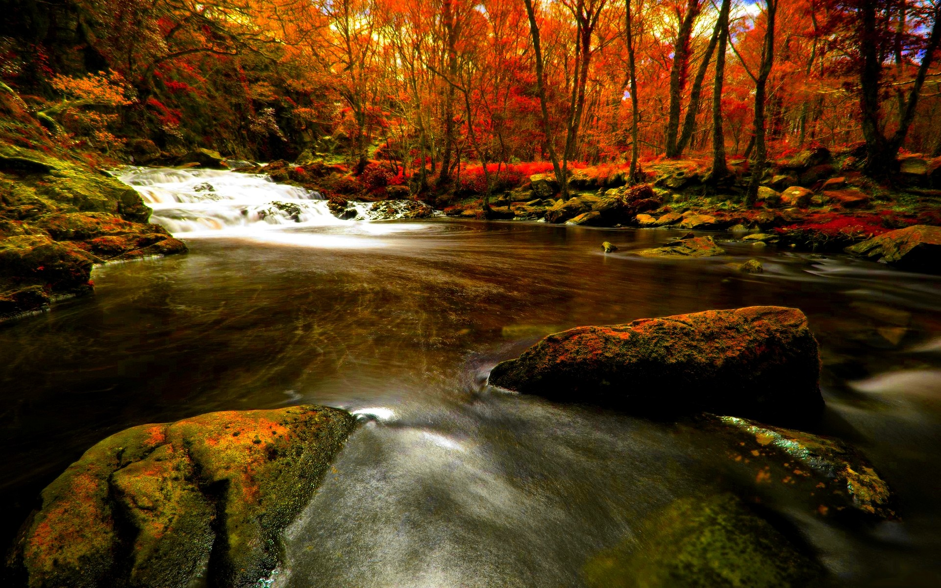 Autumn River Wallpaper Widescreen.