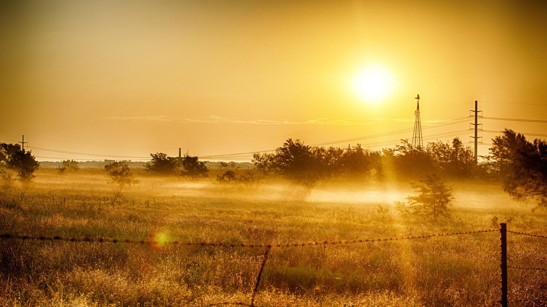 Preview wallpaper dawn, grass, sky, summer, light 1920×1080