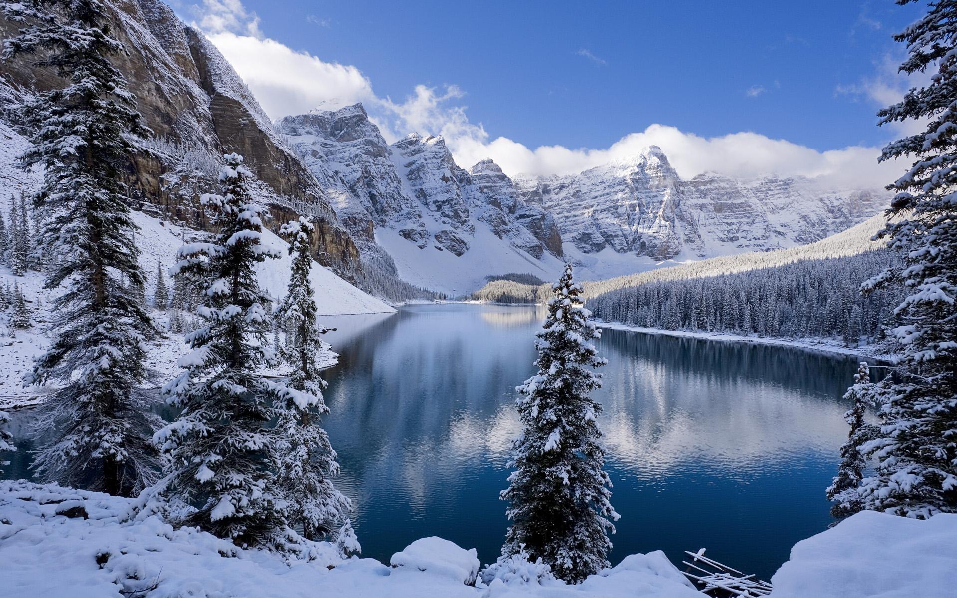 Winter Mountain Lake Scenes for Desktop Wallpapers HD