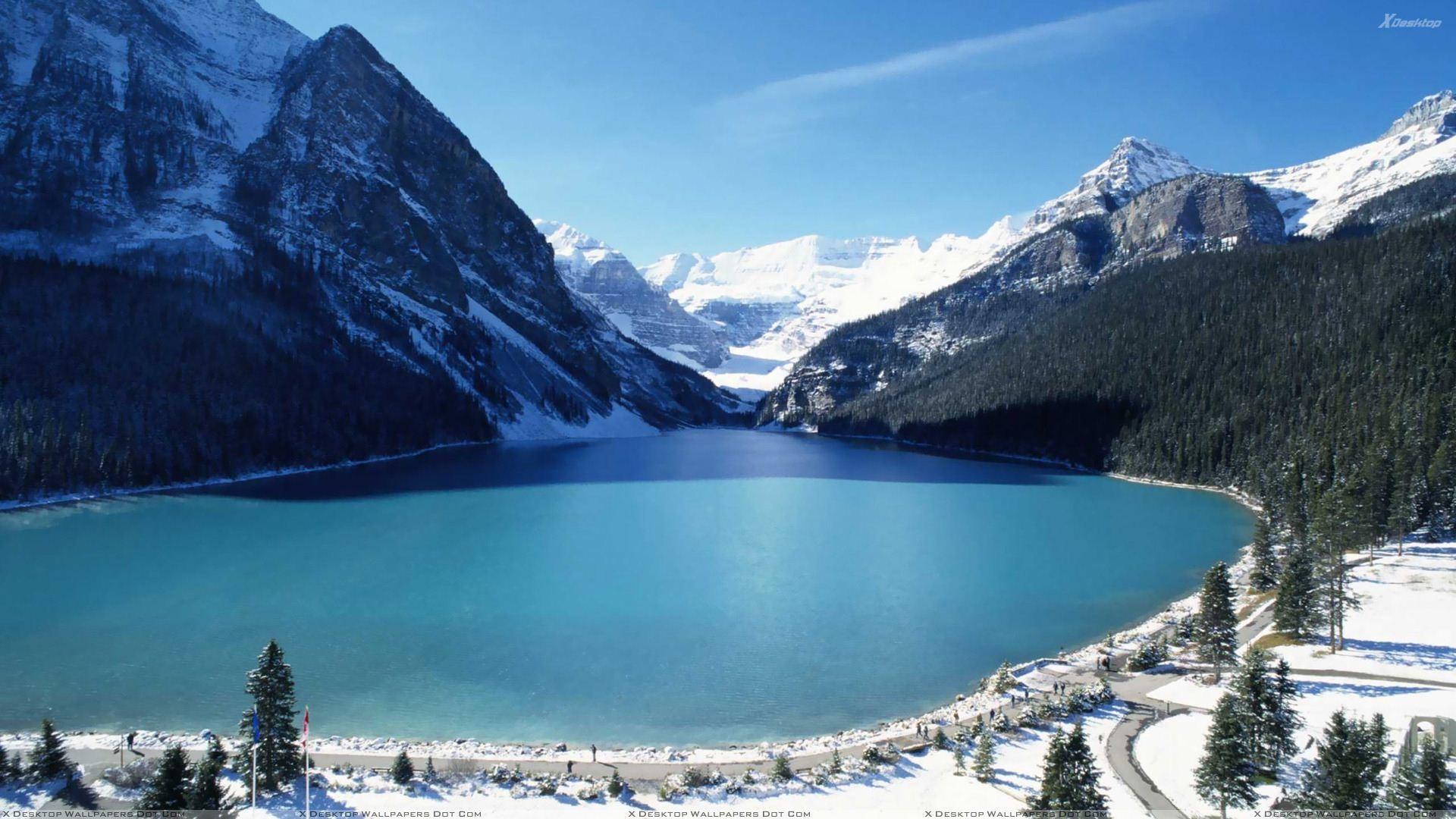 Lake Louise Far View Scene Wallpaper