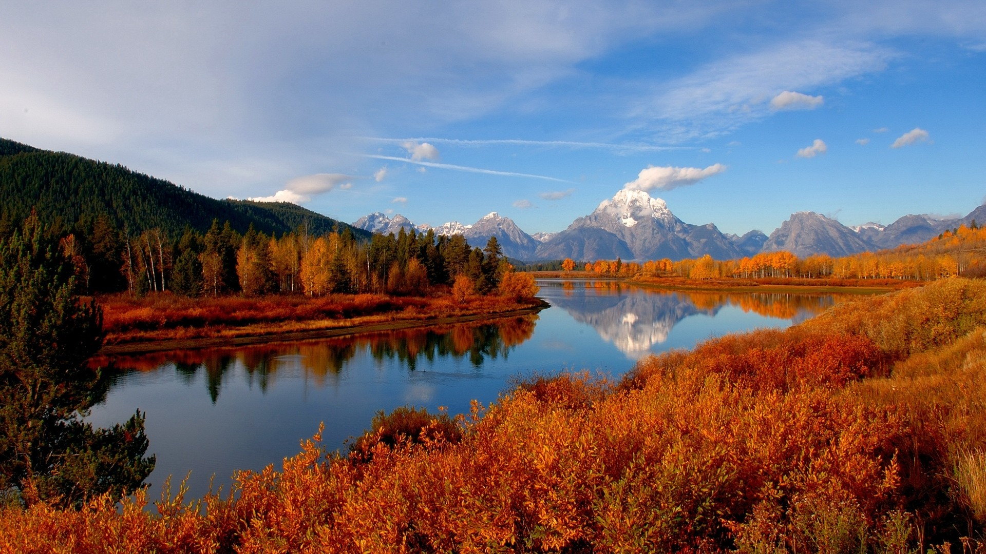 Preview wallpaper autumn, river, sky, nature 1920×1080