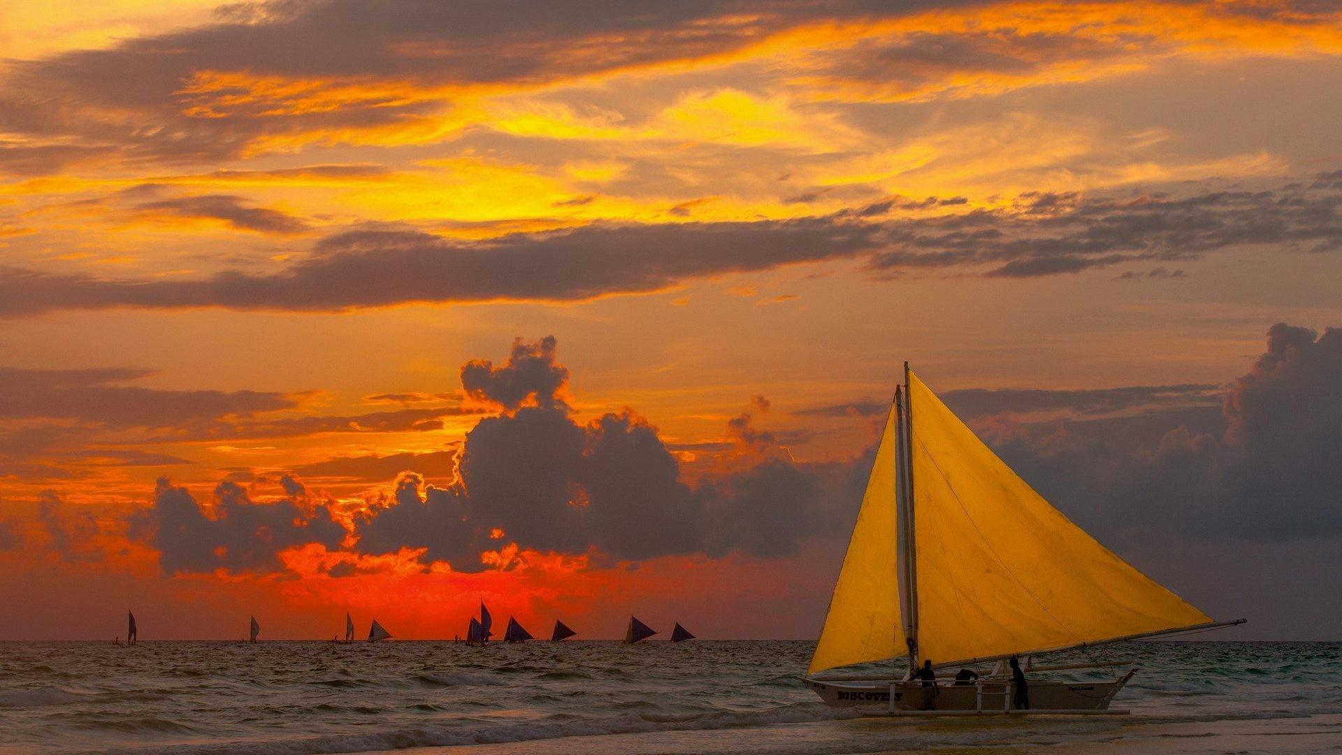 Sail Tag – Sail Sailing Sunset Sailboats Boat Ocean Wallpapers For Computer  for HD 16: