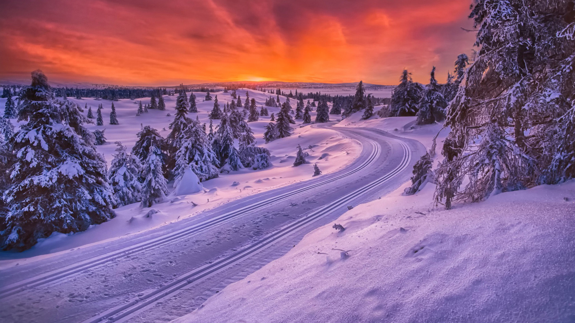 Toboggan Road In Scandinavia Winter Background Wallpaper HD