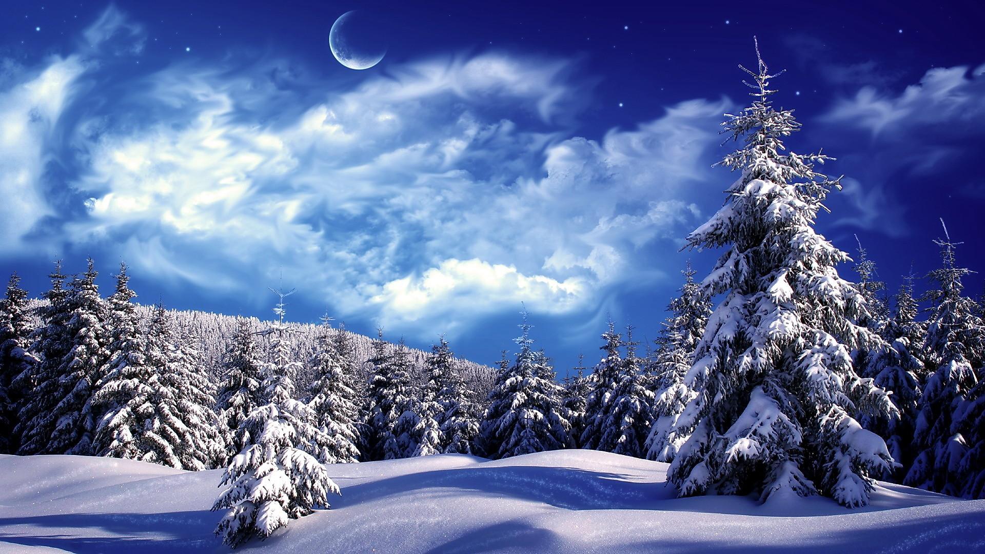 Snowy Winter Scenes Wallpaper   Snowy wonderland, mountain, scene, sky, snow ,