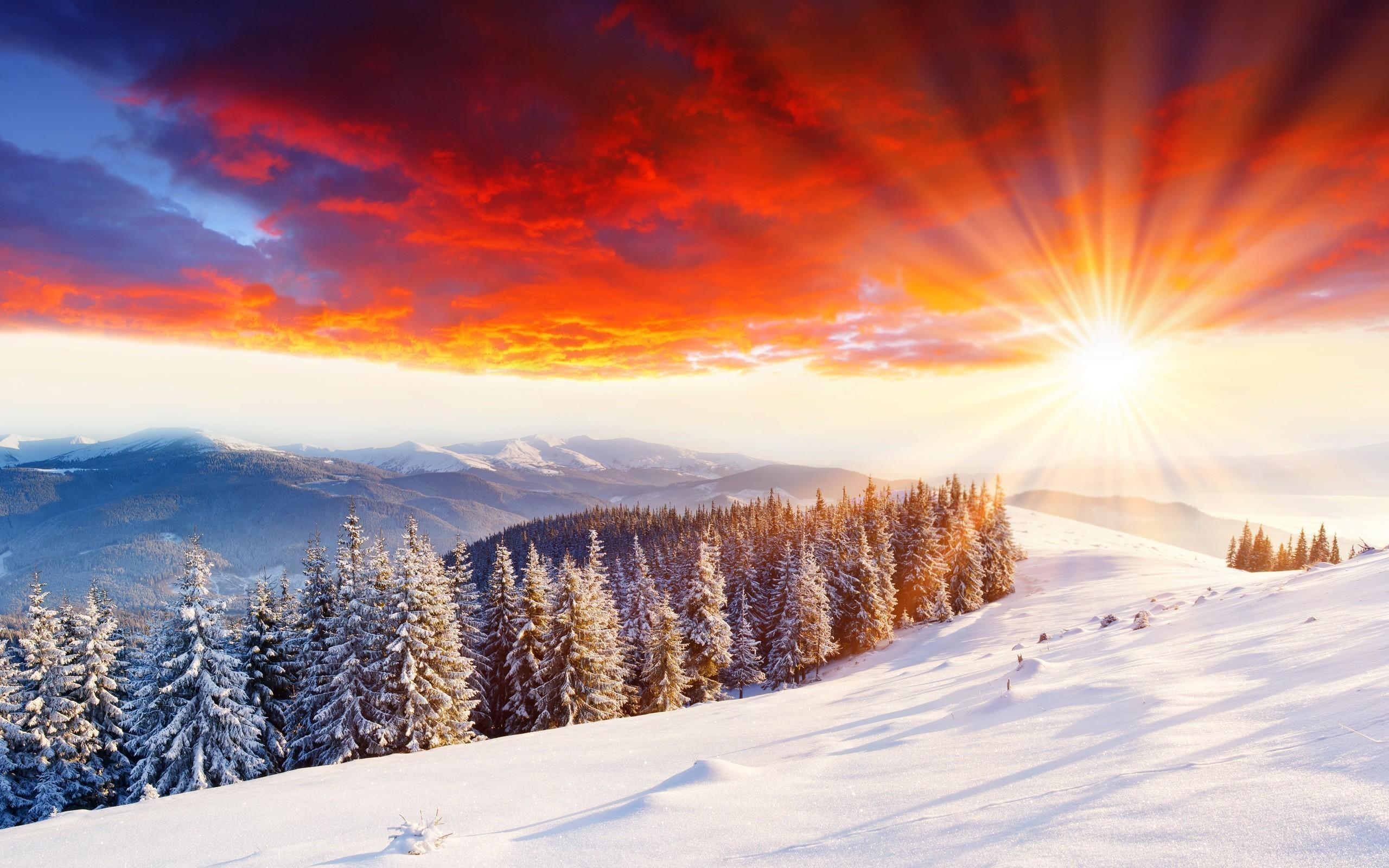 snow scene wallpaper sunset. Â«Â«