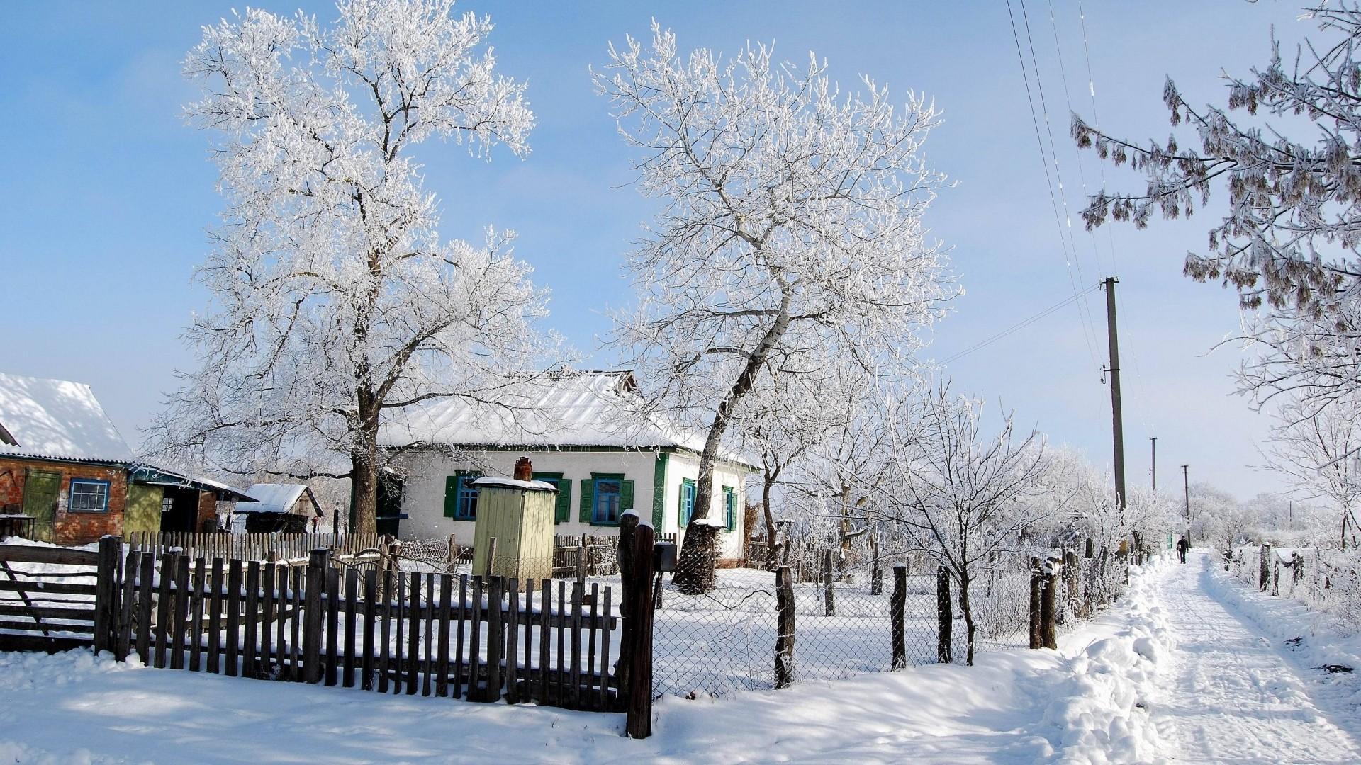 Wallpaper winter, snow, house, fence, village