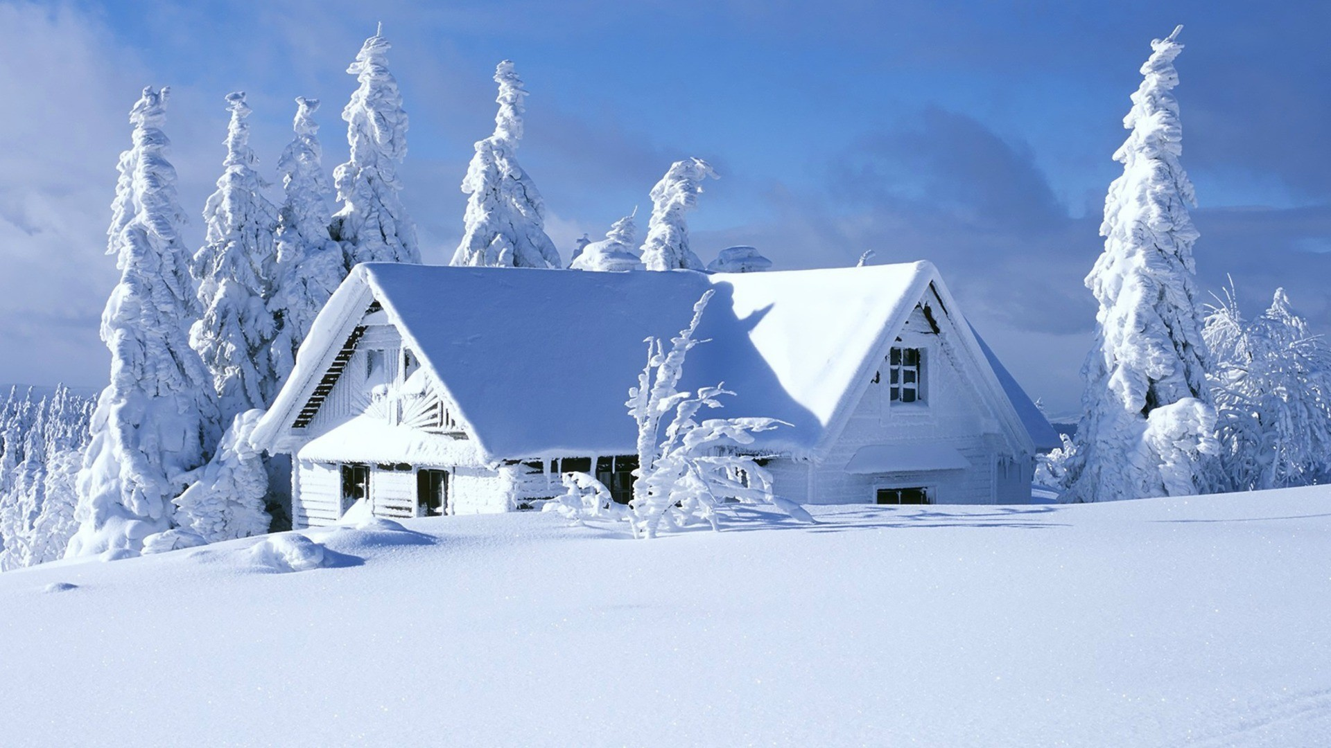 nature snow house background HD