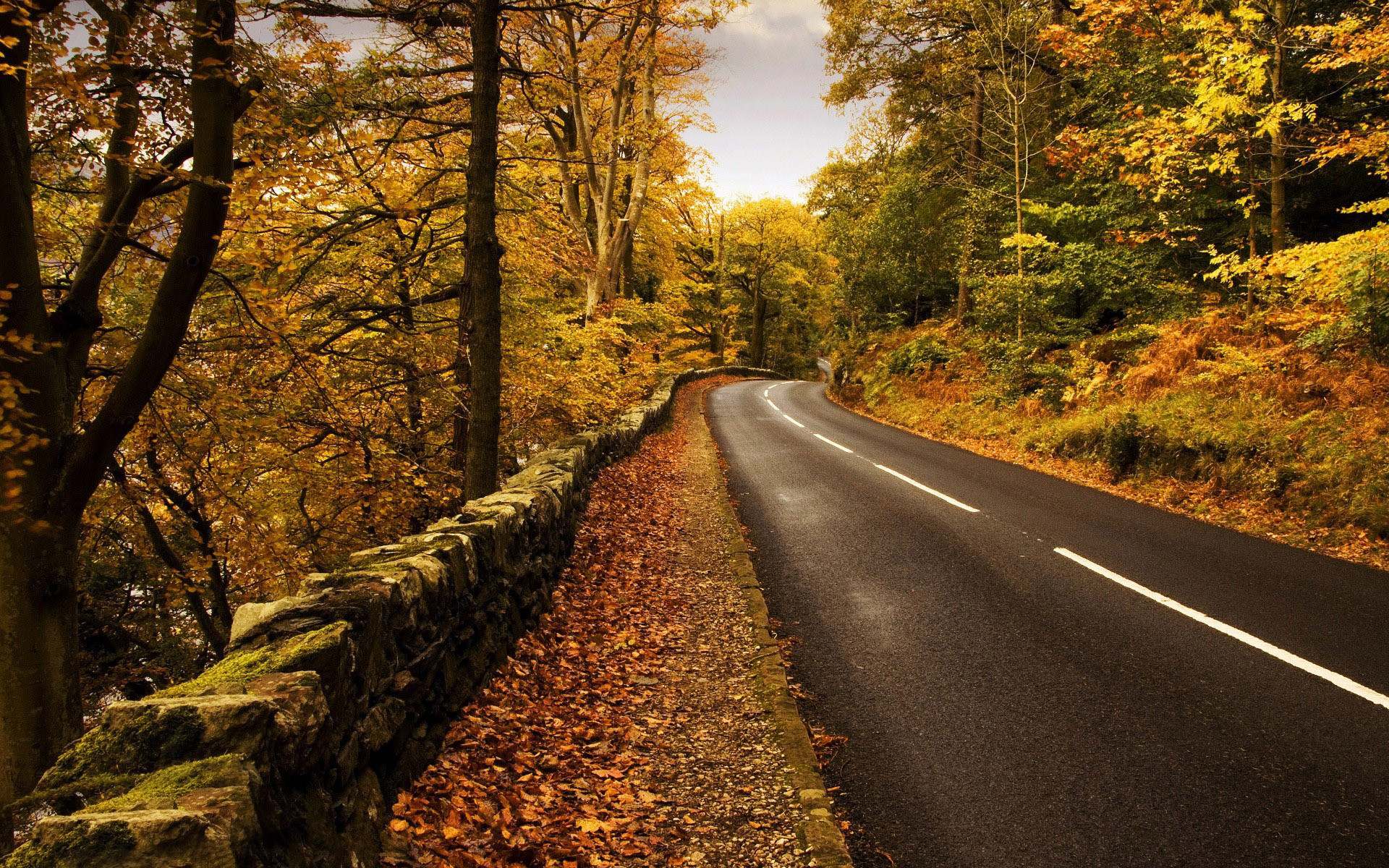 Mountain road in the fall wallpaper – 753657