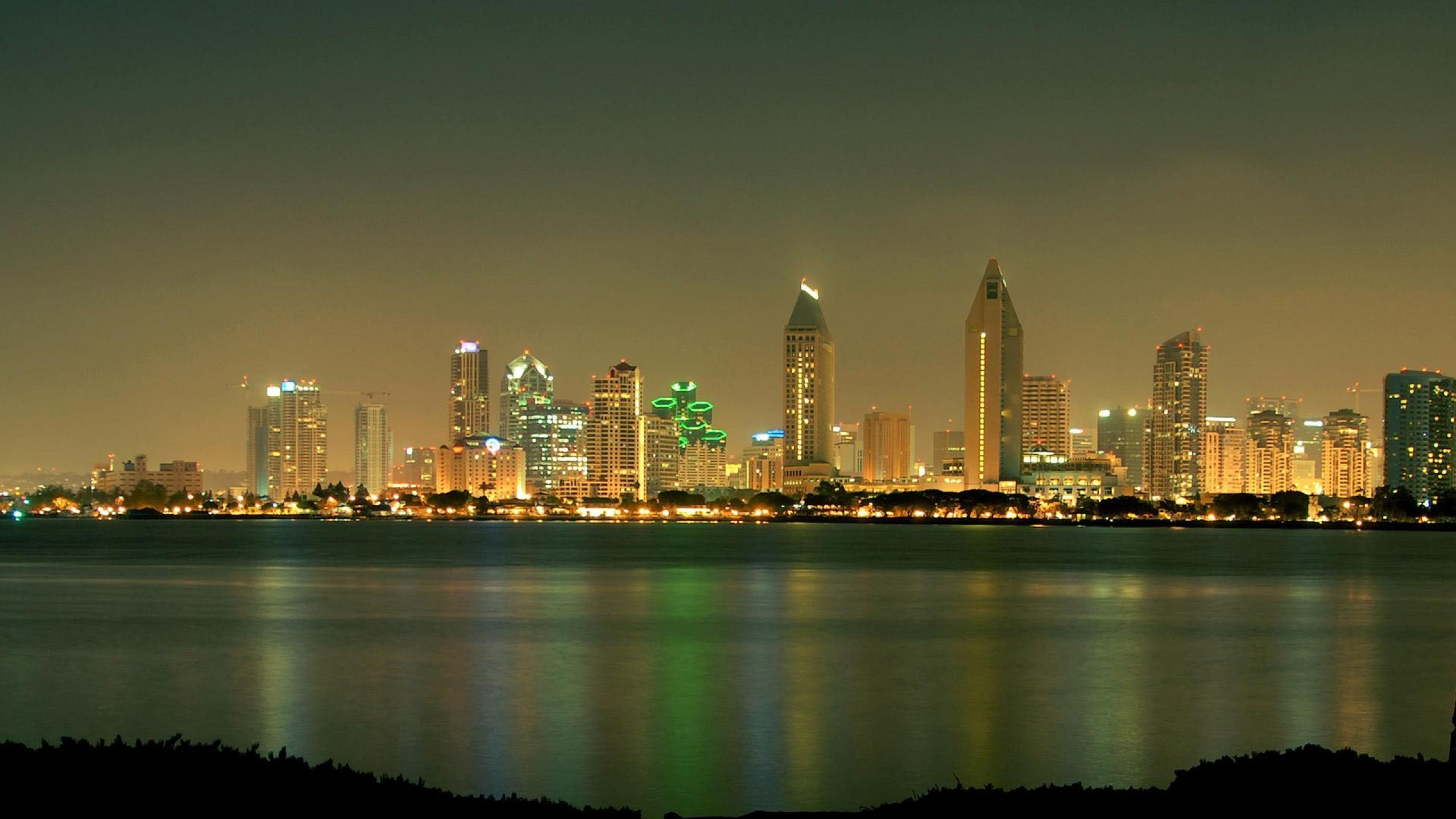 Wallpaper san – diego, california, usa, skyscrapers, night, beach