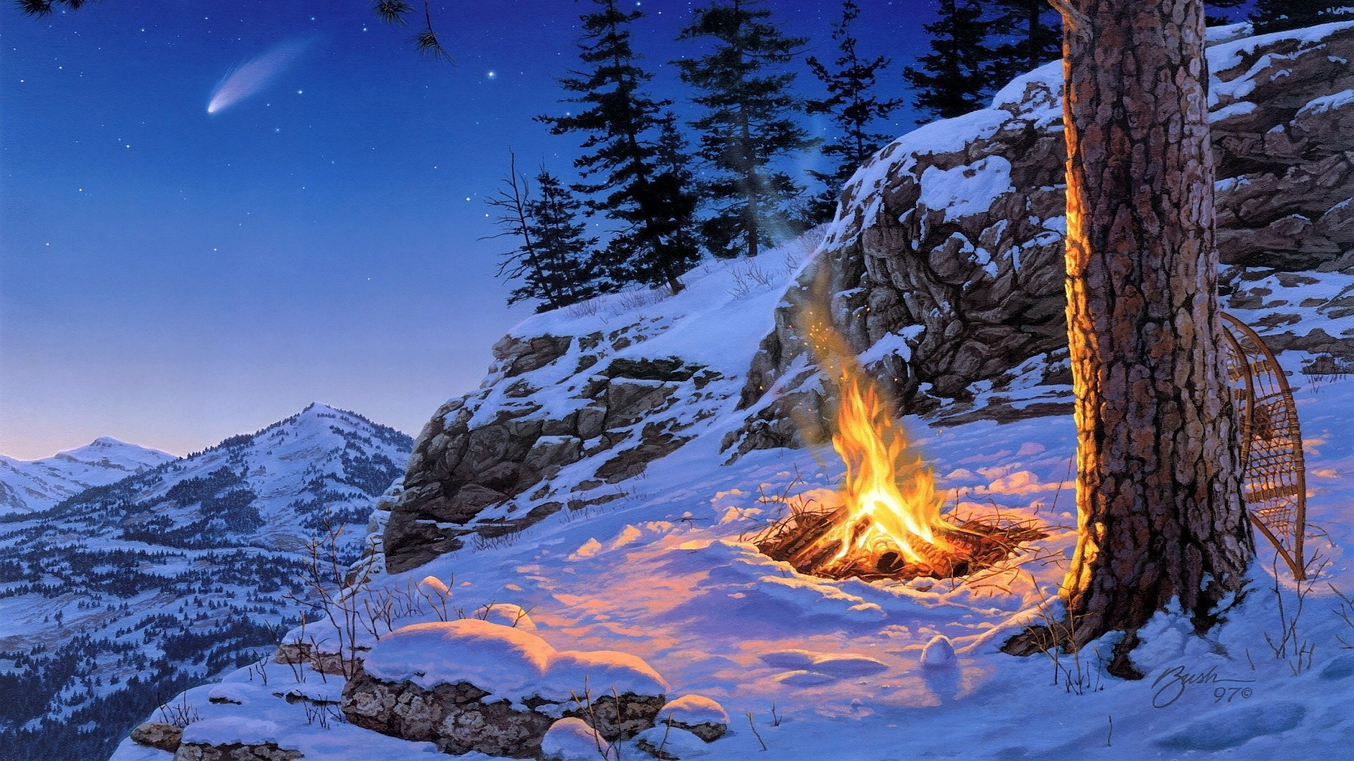 Fire on the snowy mountain wallpaper