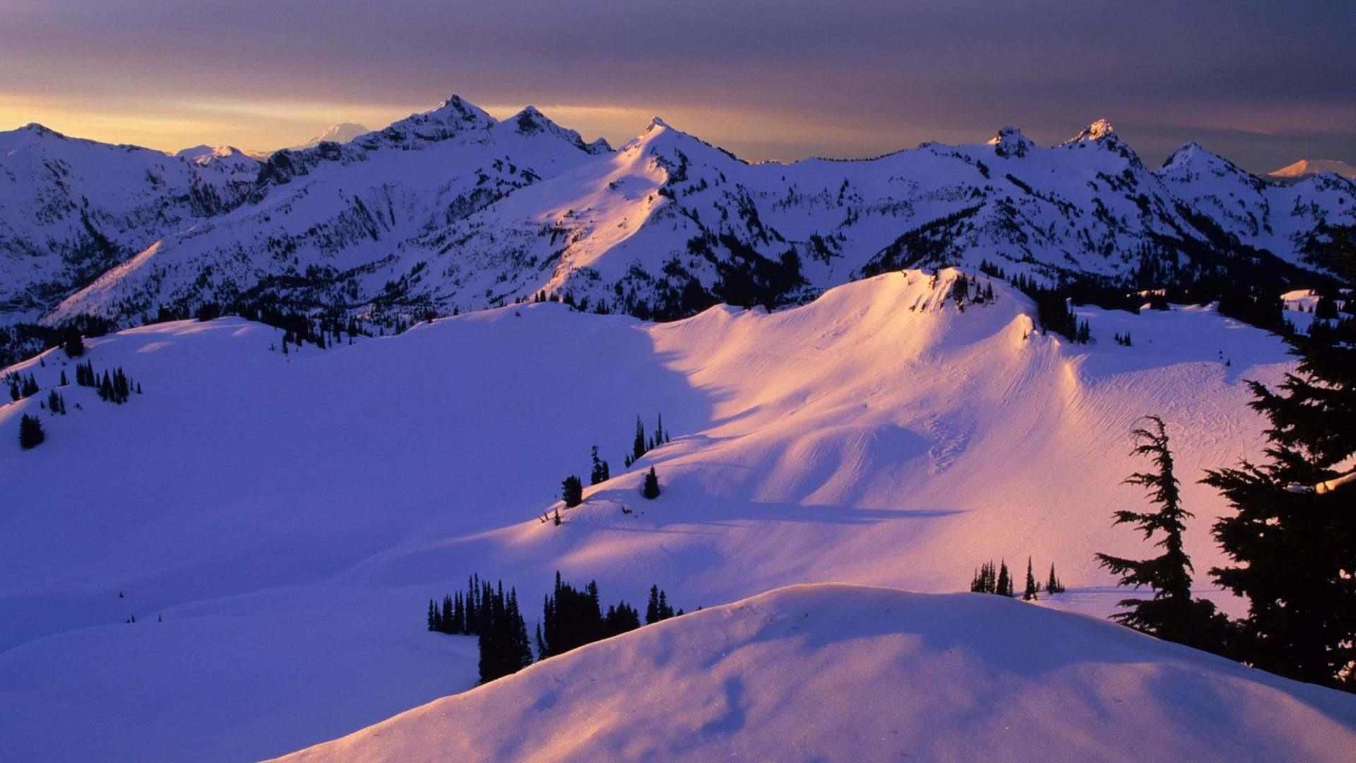 Beautiful Snowy Mountain Winter Wallpaper.
