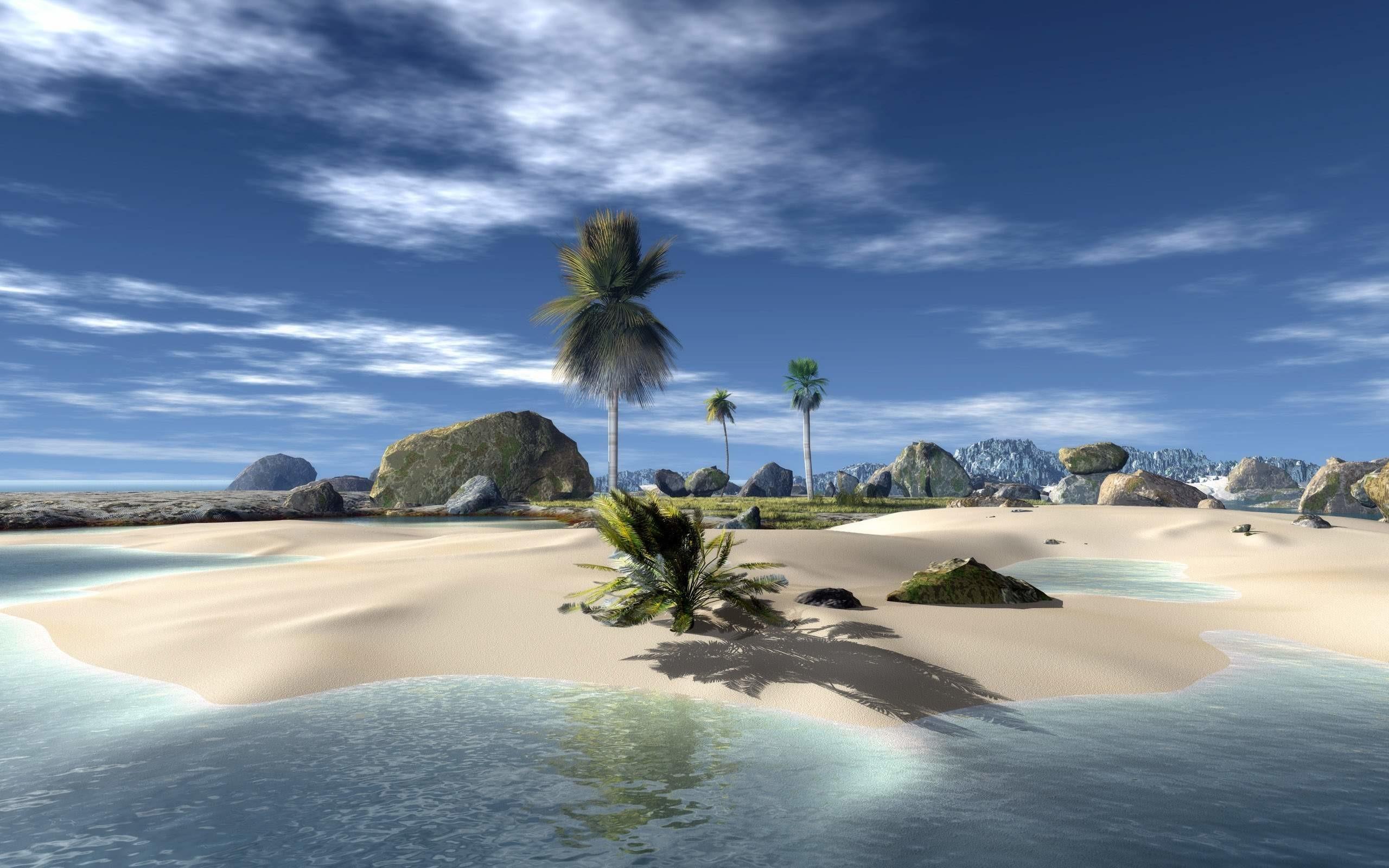 HD wallpaper nature beach 3D download.