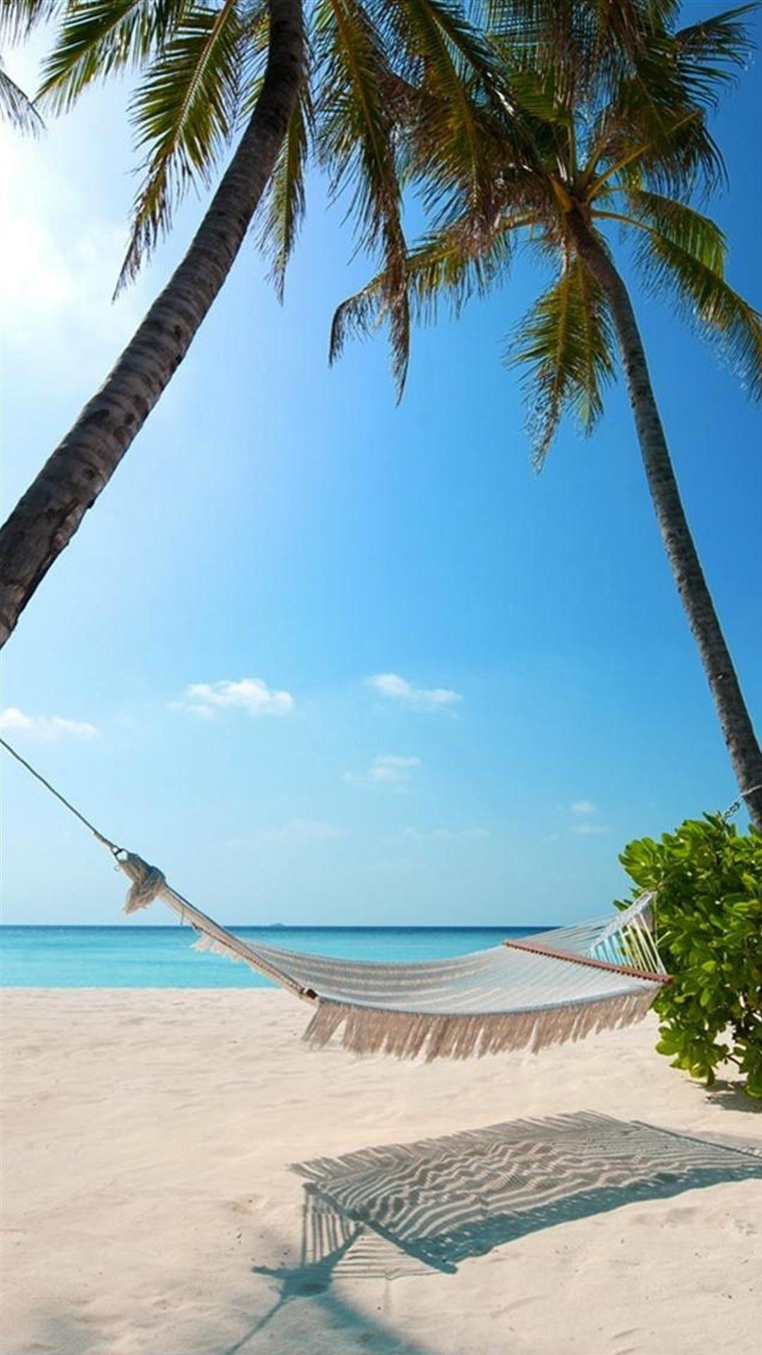 Hammock Palm Trees Beach iPhone 6 Plus HD Wallpaper …