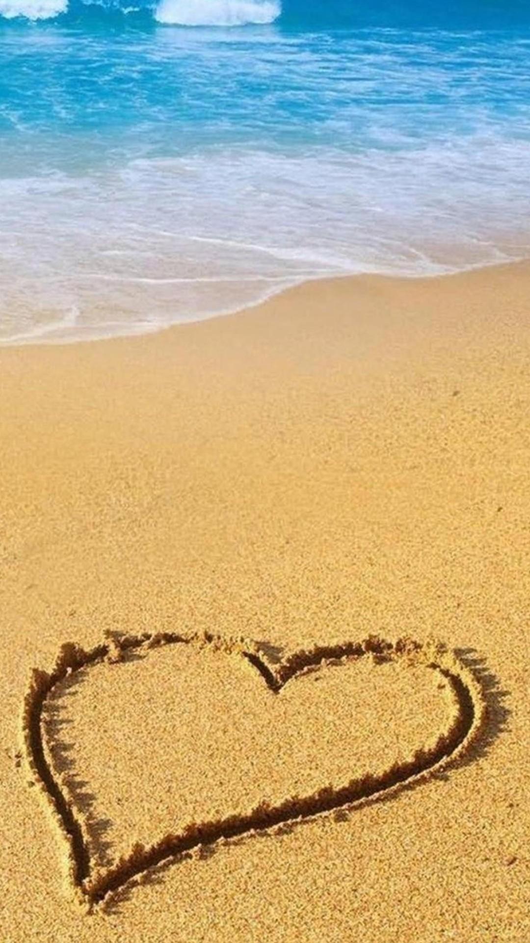 Heart Shape Beach Sand iPhone 6 Plus HD Wallpaper …
