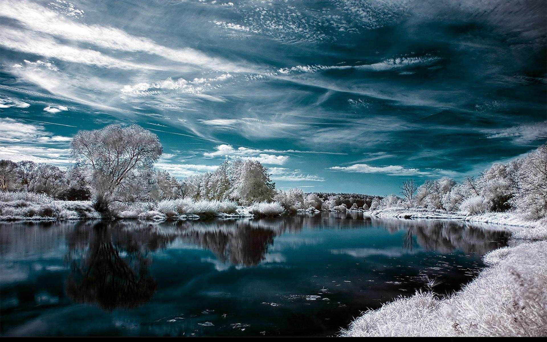 Earth – Reflection Water Sky Cyan Earth Artistic Winter Wallpaper
