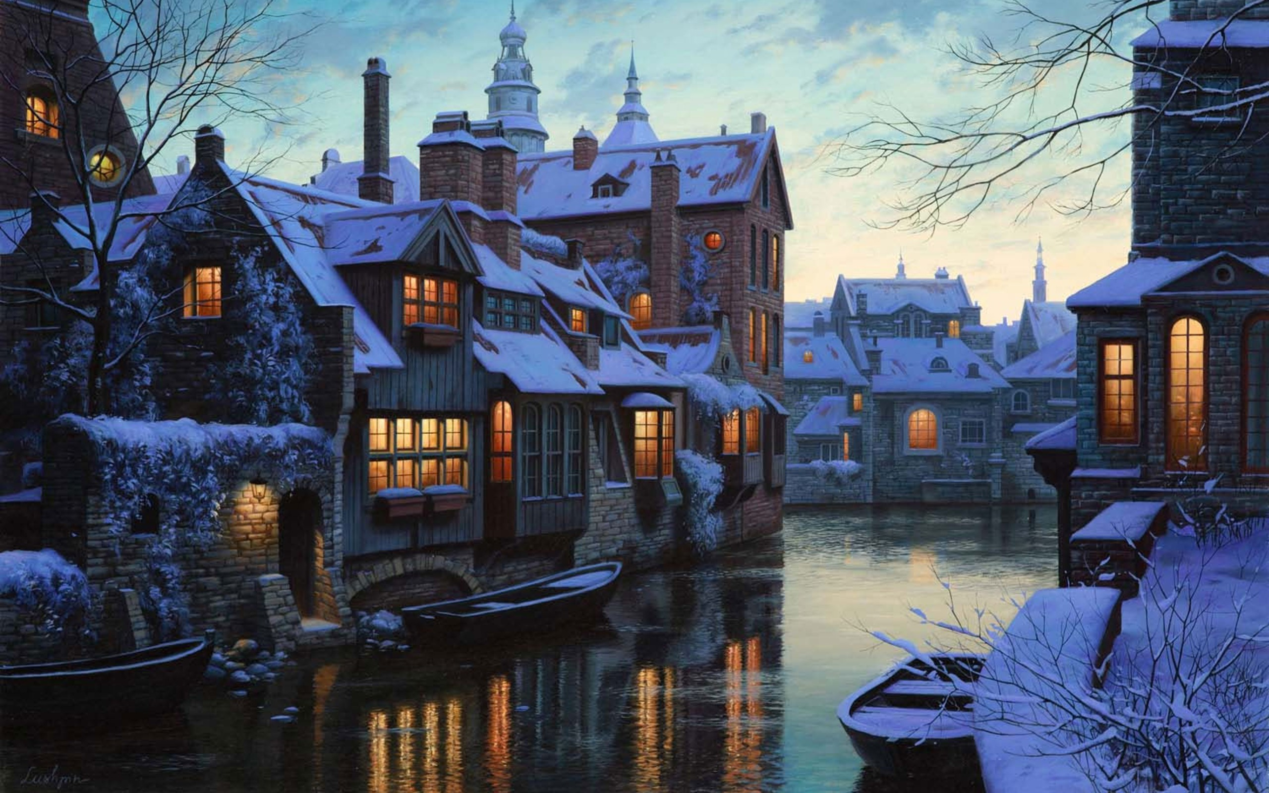 Lake through the City in Winter Time wallpaper