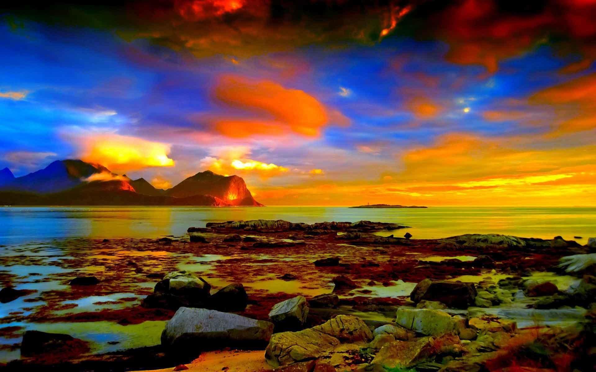 Sunrise Sunset Rocks Landscapes Horizon Beach Clouds Nice Nature Wallpaper  For Desktop