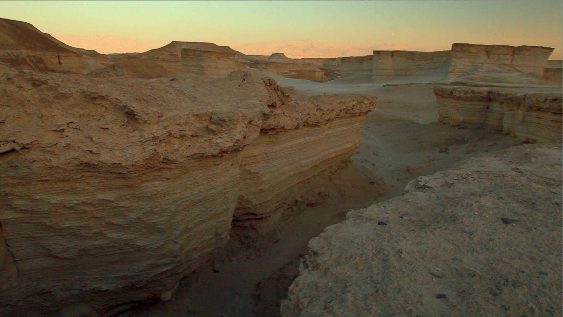 Stock Footage of a desert landscape at twilight in Israel.