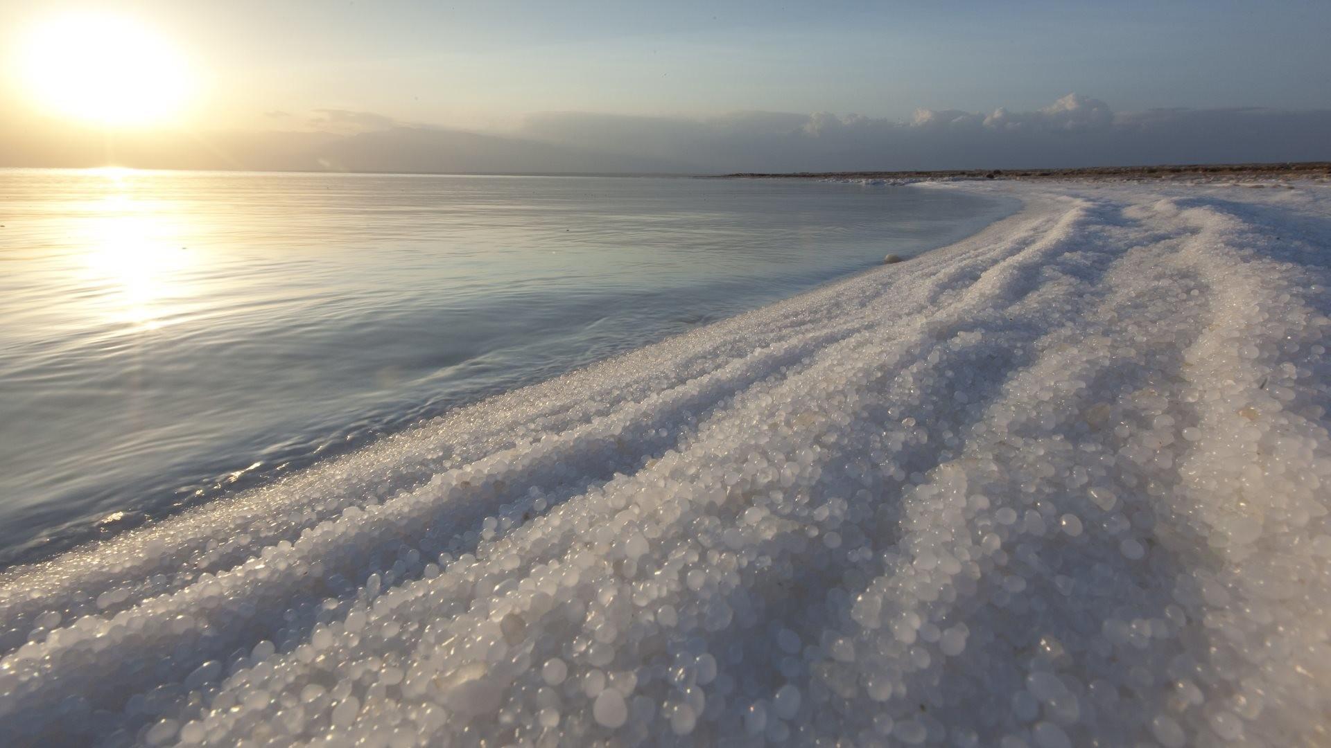 4K HD Wallpaper: Landscape and seascape from the Dead Sea