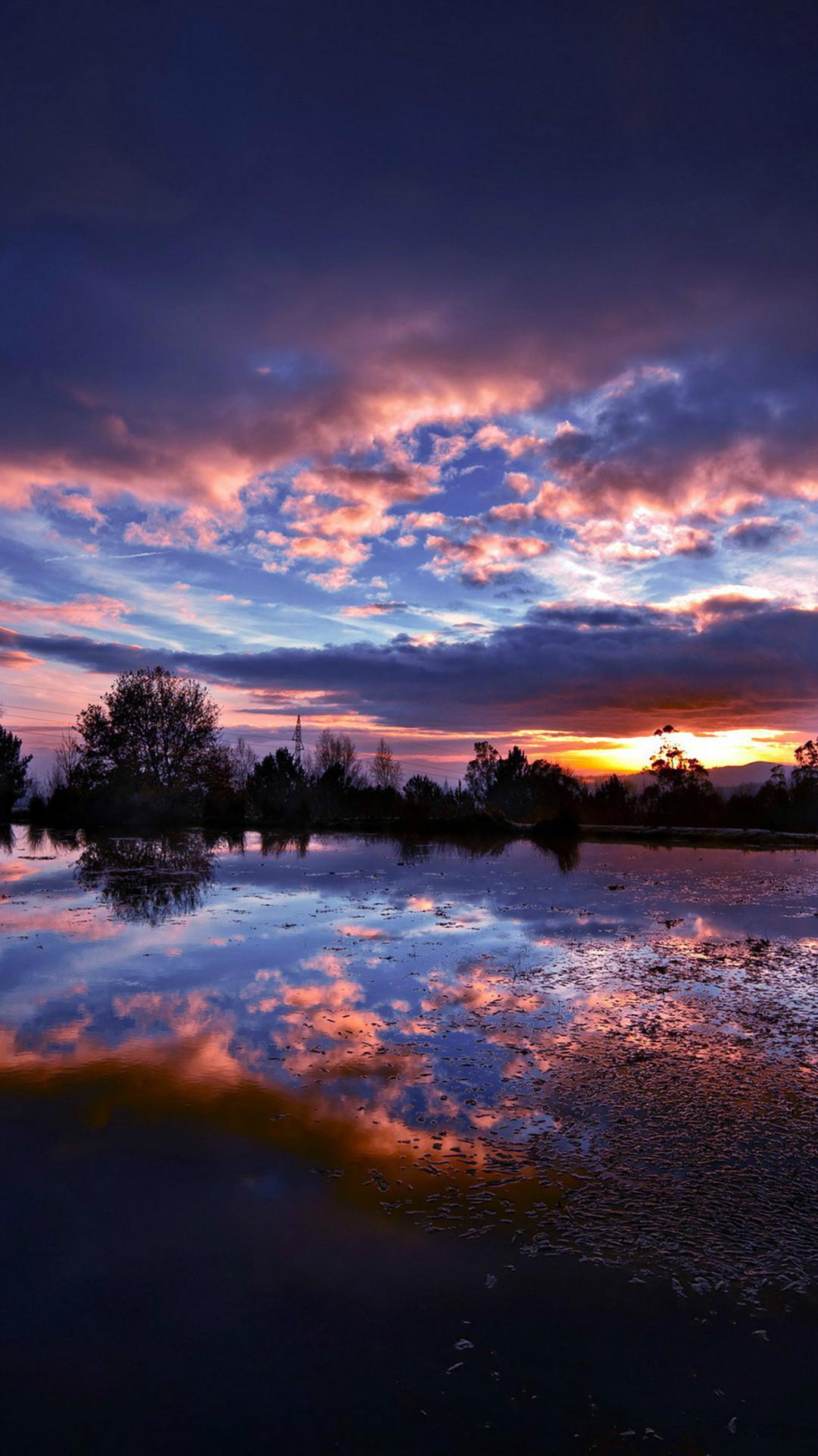 Nature Fantasy Sunset Landscape iPhone 8 wallpaper