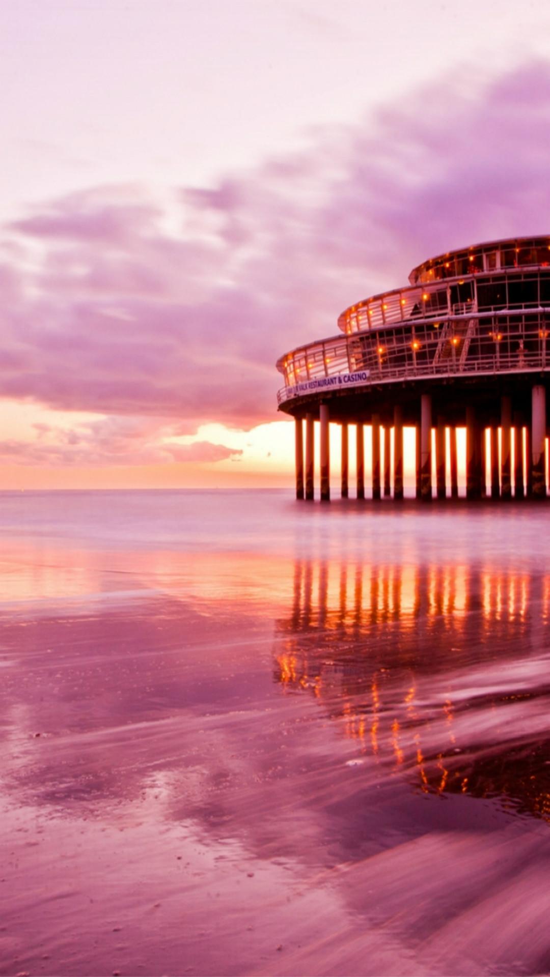 Spectacular Ocean Sunset Beach Architecture Landscape #iPhone #6 #wallpaper